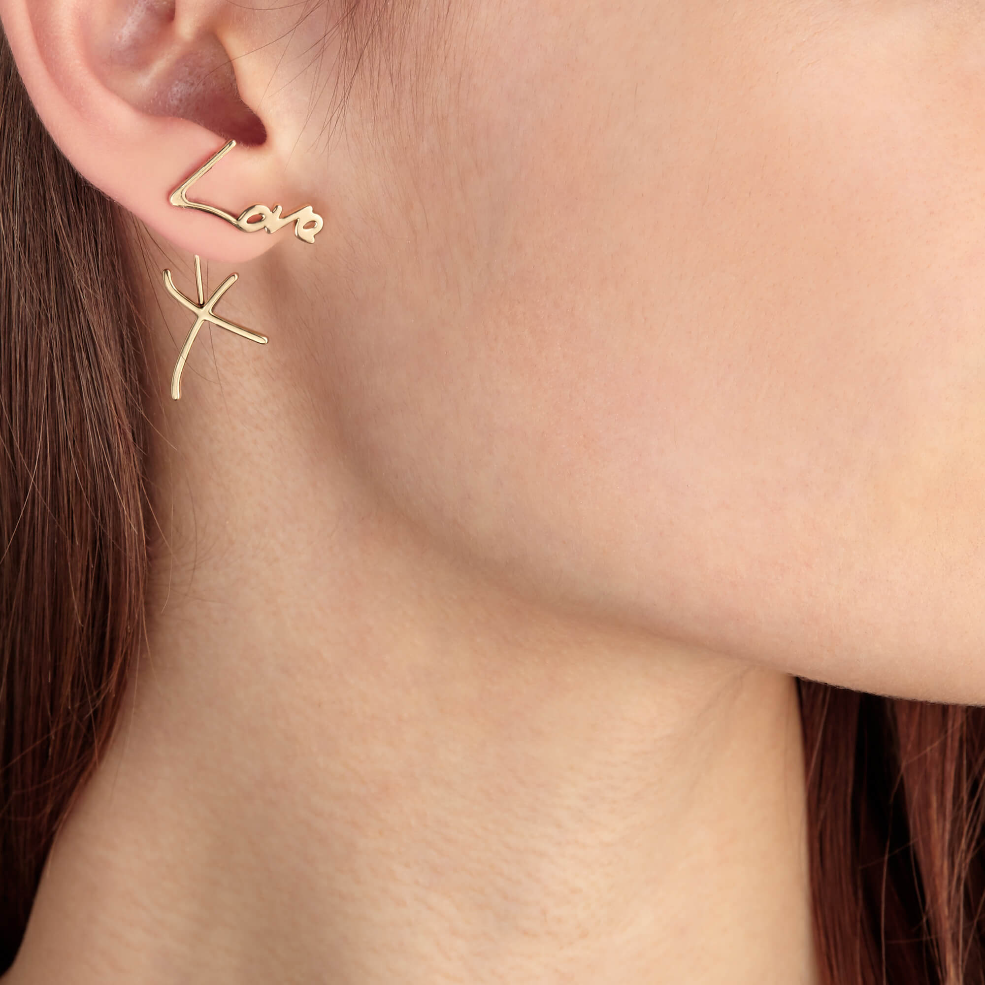 Neon Yellow Gold Love and Kisses Earrings | I Promise To Love You