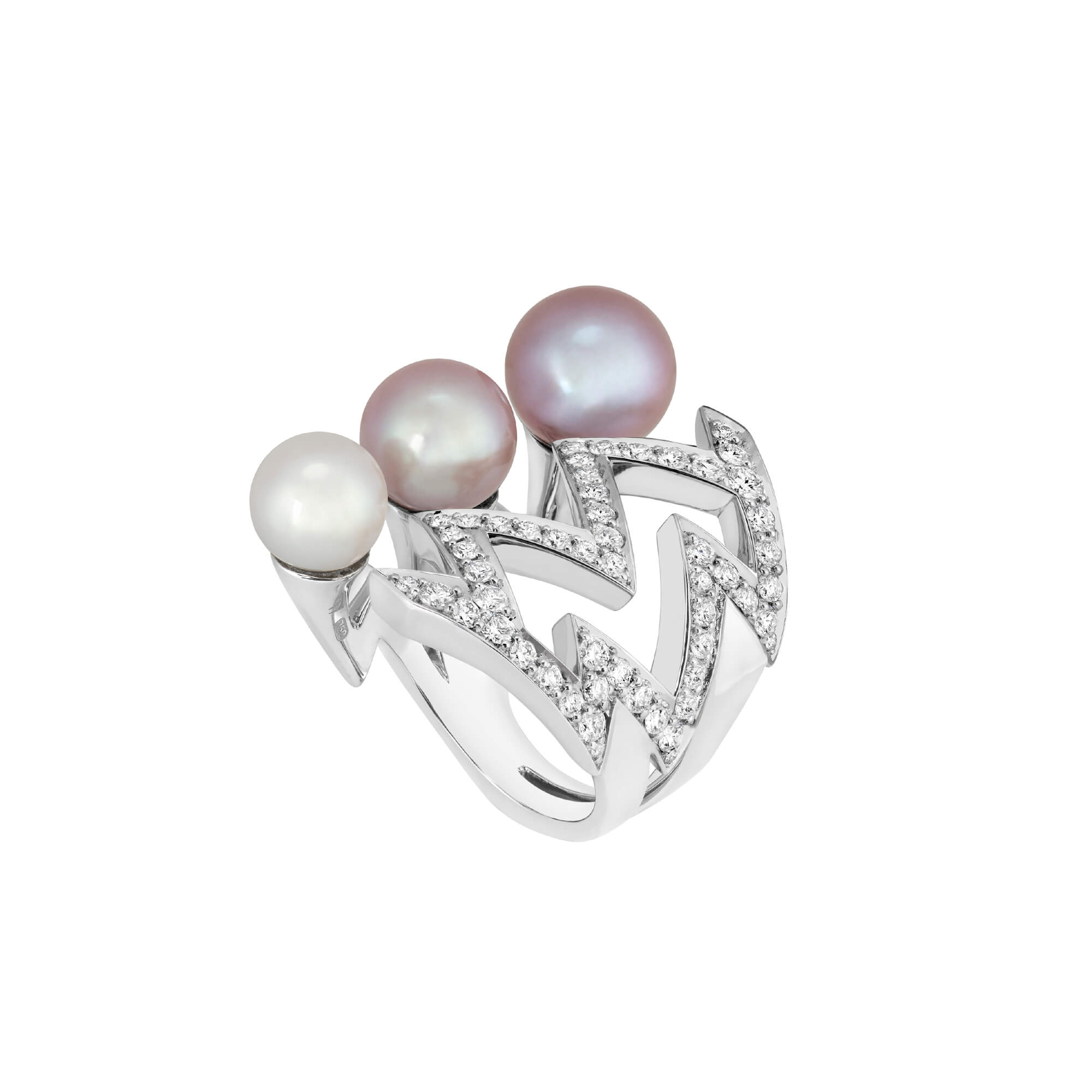 White and Pink Graduating Pearl Bolt Ring | Lady Stardust