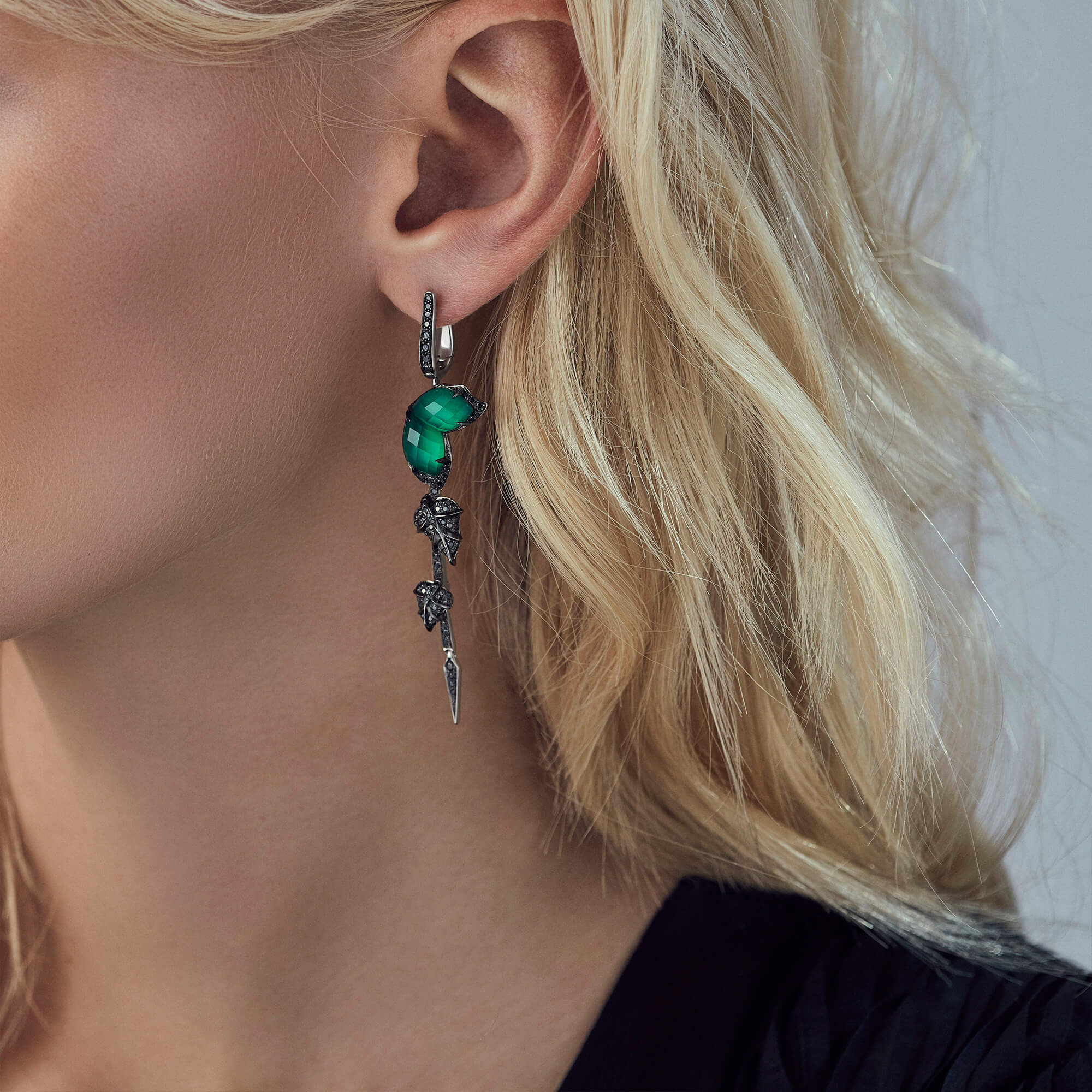 Green Agate Long Detachable Earrings | Love Me, Love Me Not