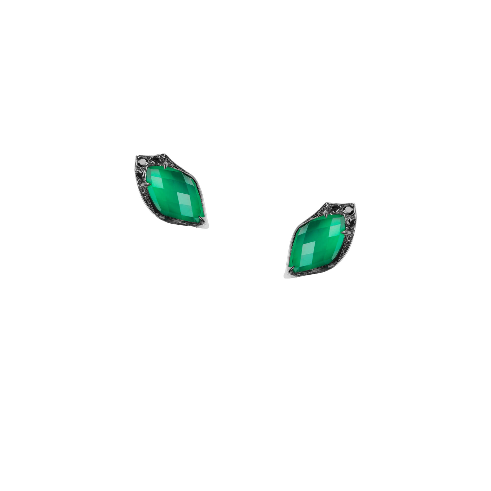 Green Agate Crystal Haze Studs | Love Me, Love Me Not
