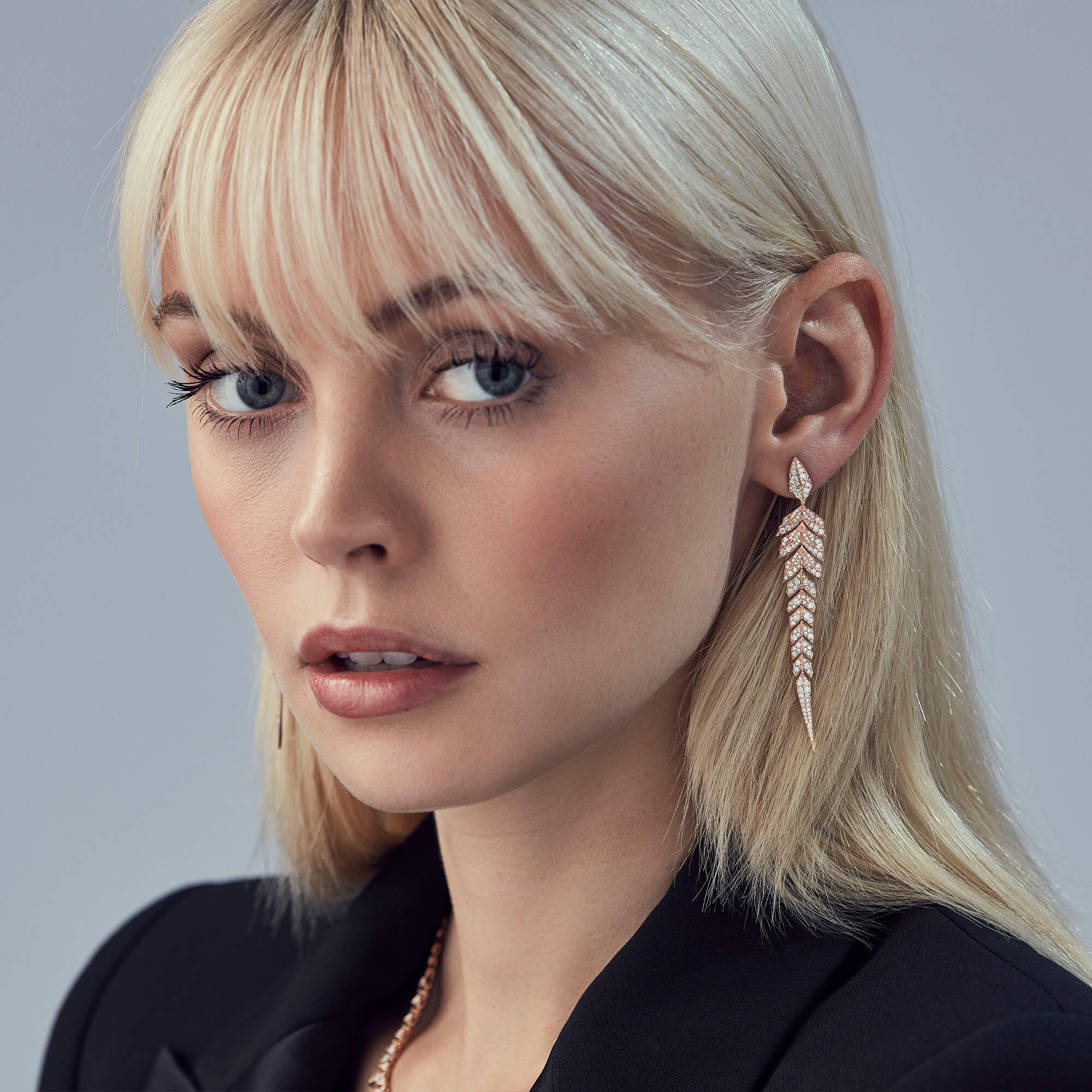 Rose Gold Pavé Earrings With White Diamonds | Magnipheasant