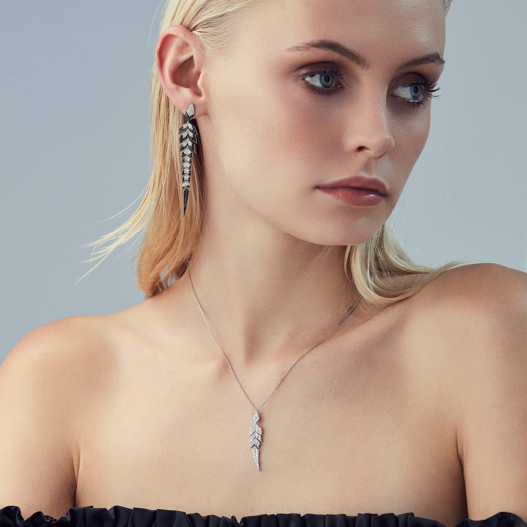 White Gold Pave Earrings With Black Diamonds Magnipheasant