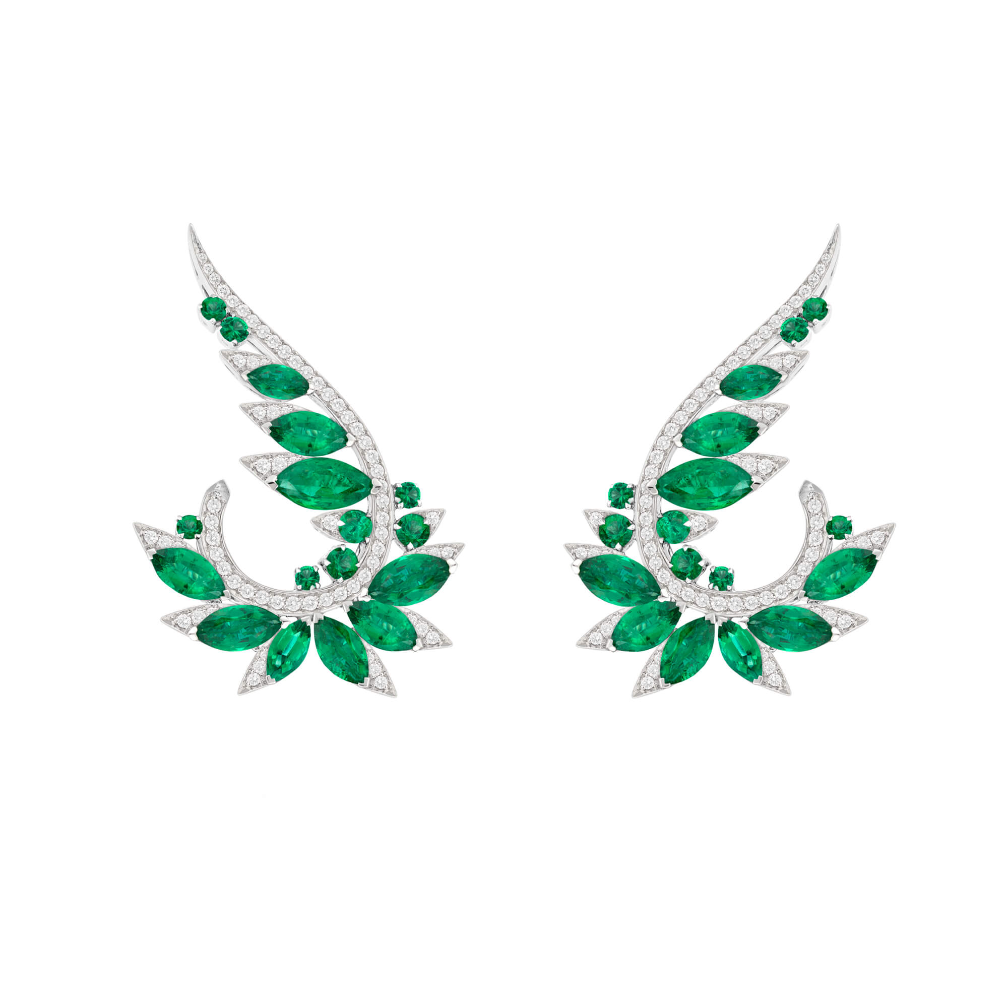 Emerald and Diamond Plumage Earrings | Magnipheasant