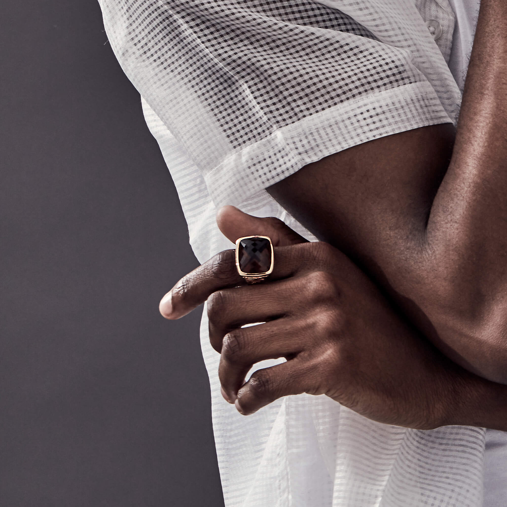 Men's Cognac Quartz Fish Ring | Beasts of London