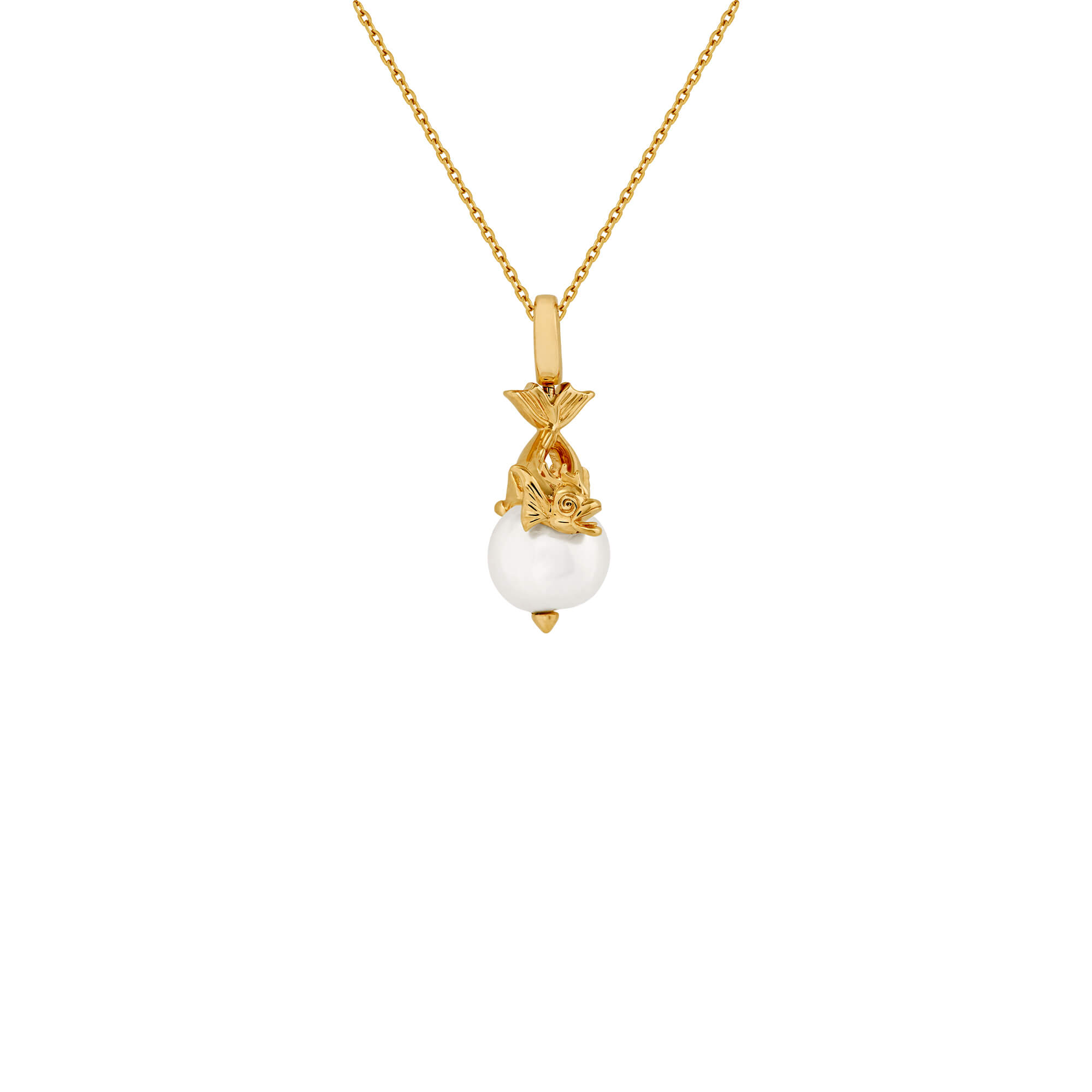 Pisces Yellow Gold and White Pearl Necklace | Astro Balls