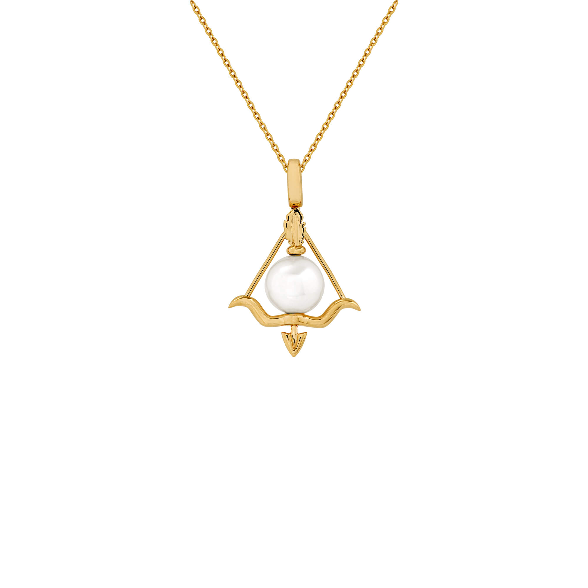 Sagittarius Yellow Gold and White Pearl Necklace | Astro Balls