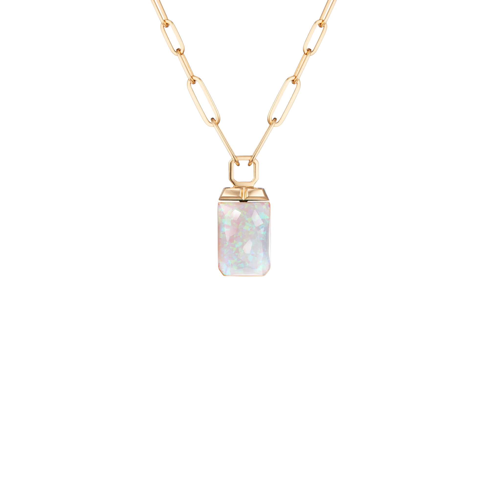White Opalescent Crystal Haze Tablet Twister Pendant  | CH₂