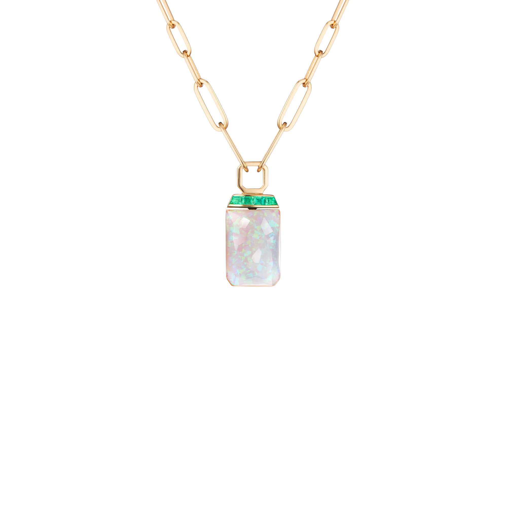 Crystal Haze and Emeralds Tablet Twister Pendant | CH₂