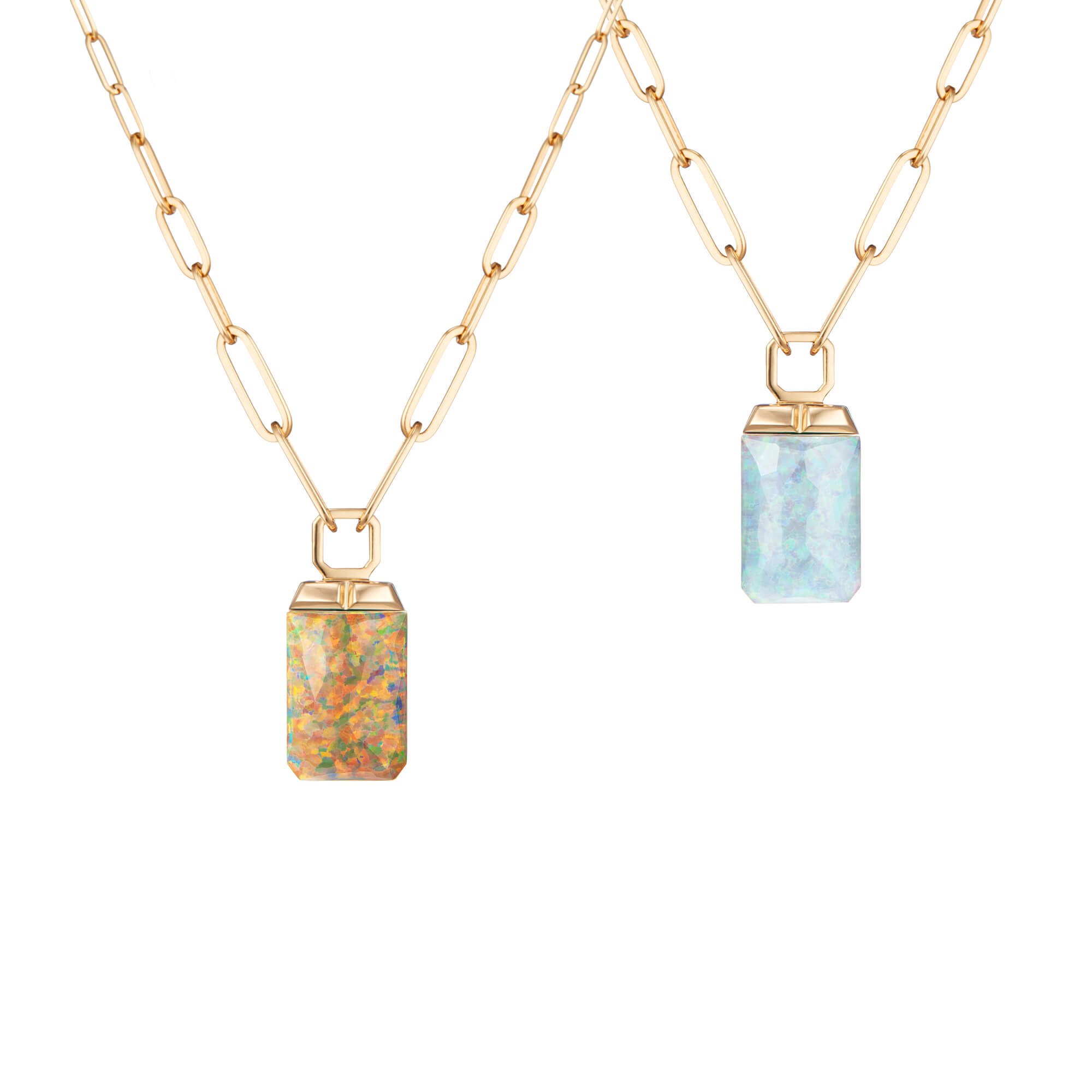Fire Opalescent Crystal Haze Tablet Twister Pendant | CH₂