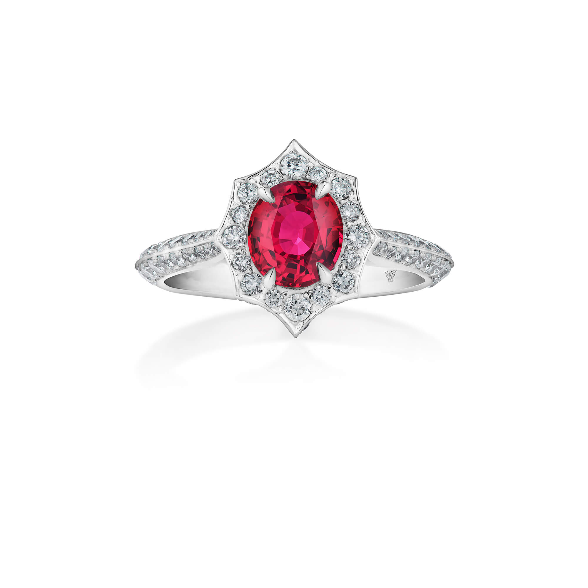 Thorn Classic Oval Halo Red Spinel Ring | No Regrets Chapel