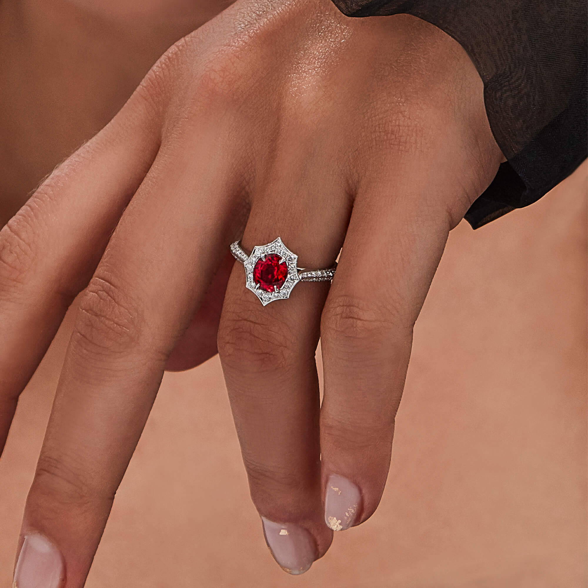 Thorn Classic Oval Halo Red Spinel Ring - Image 1 | No Regrets Chapel