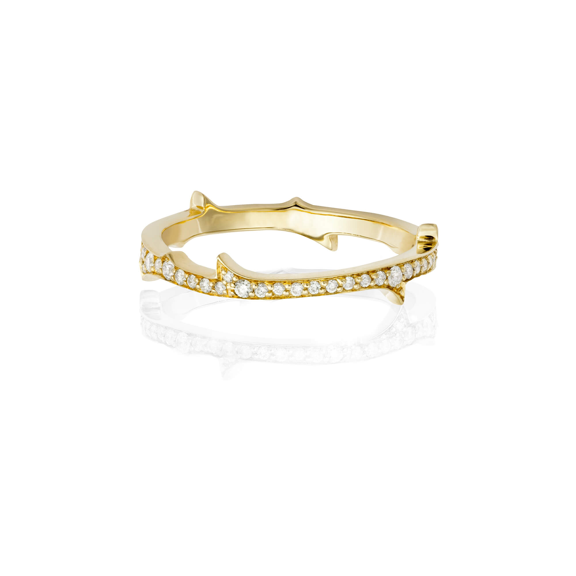 Thorn Diamond and Yellow Gold Stem Ring | No Regrets Chapel