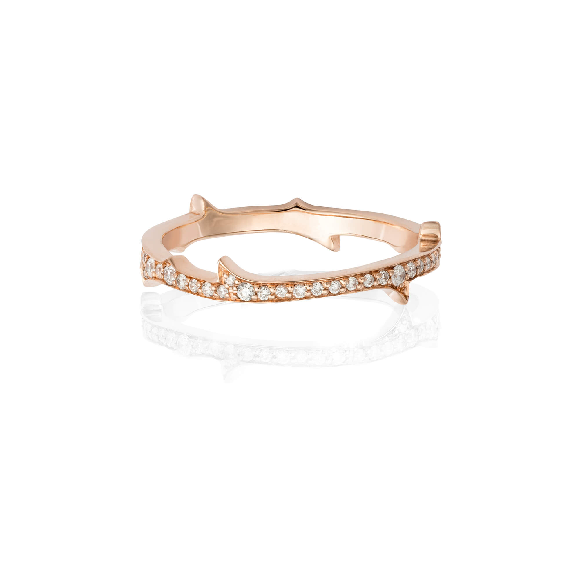 Thorn Diamond and Rose Gold Stem Ring | No Regrets Chapel