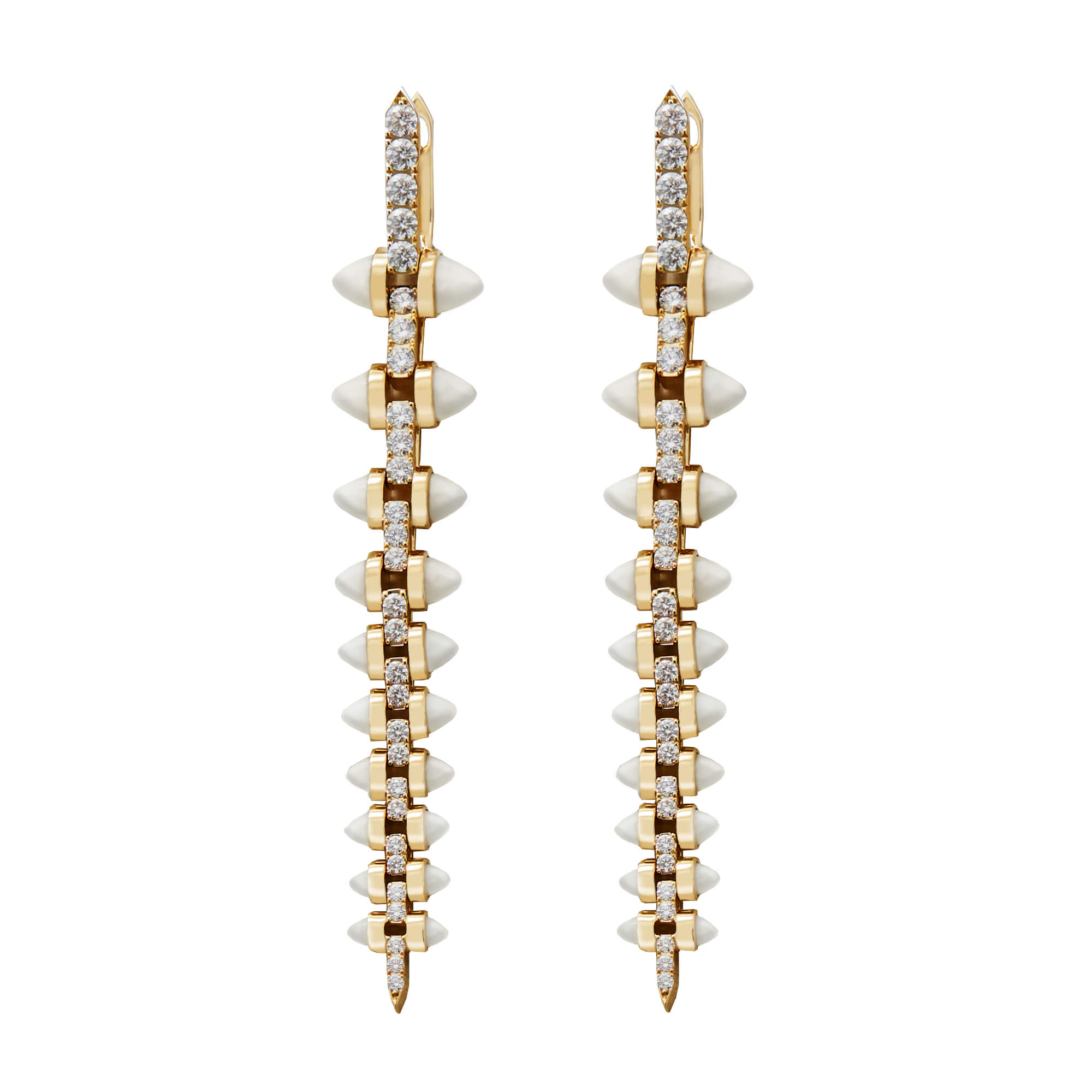 Stiletto Diamond and Mother of Pearl Earrings | No Regrets