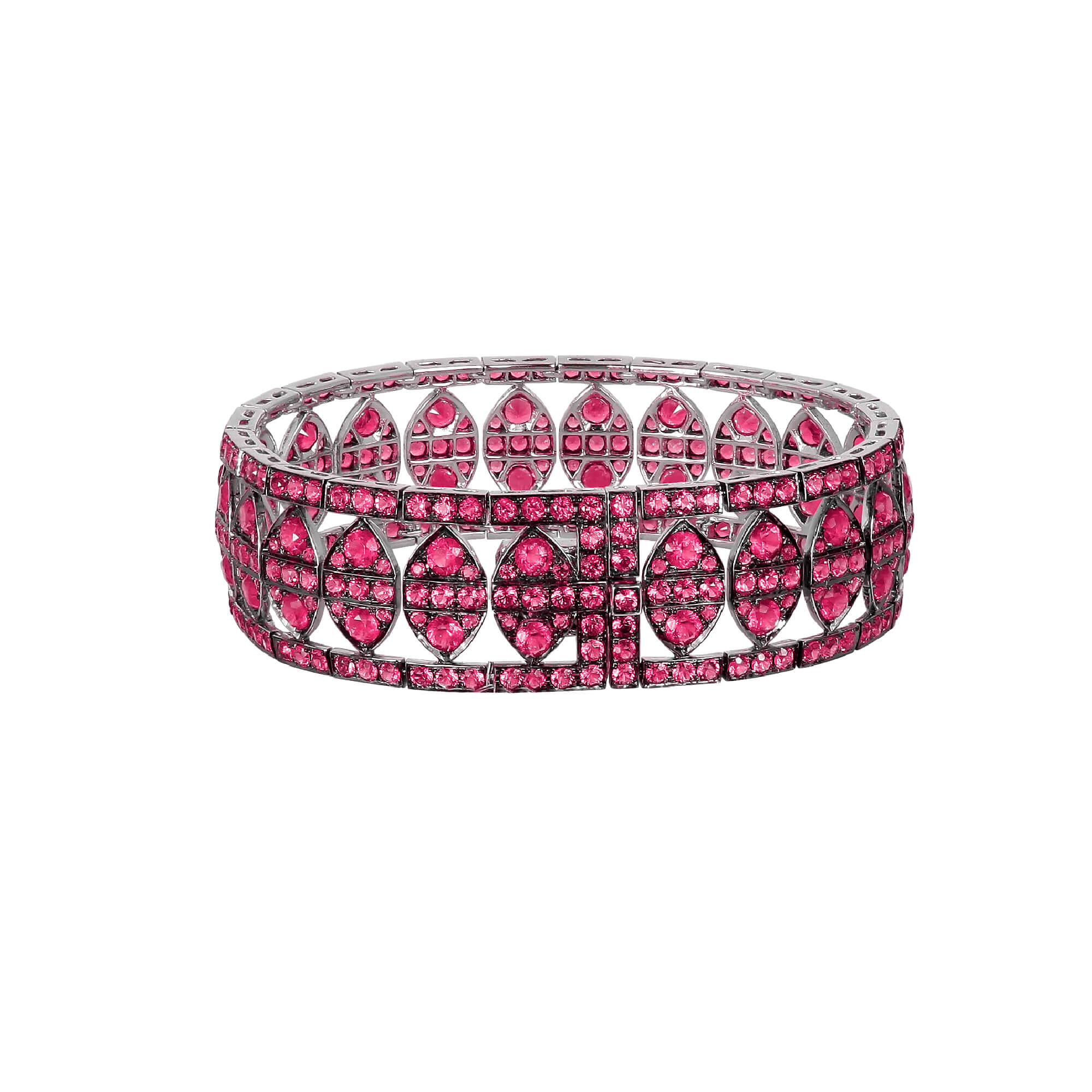 White Gold New York Bracelet With Rubies | Deco