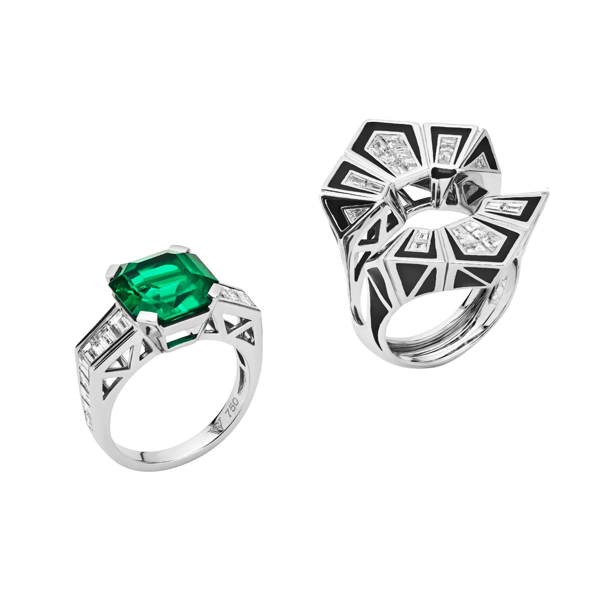Couture Enamel Emerald Cocktail Ring - Image 1 | Dynamite