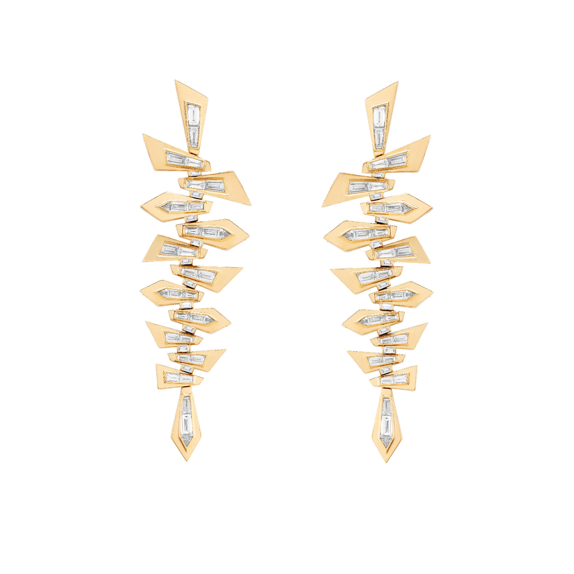 Yellow Gold Shattered Earrings | Dynamite
