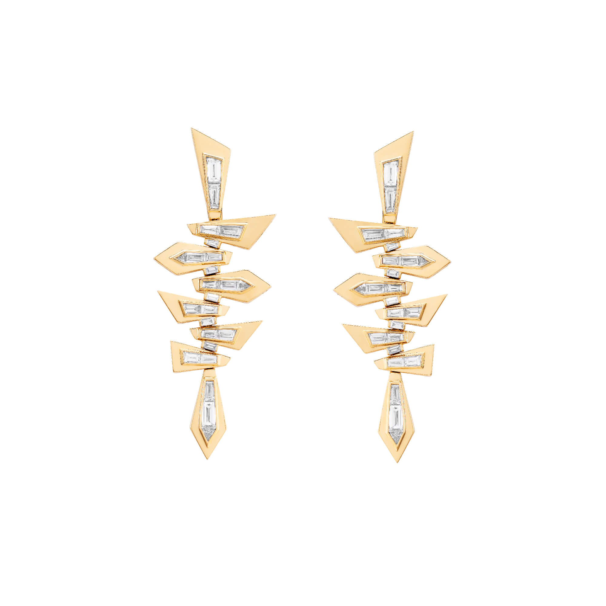 Yellow Gold Shattered Short Earrings | Dynamite