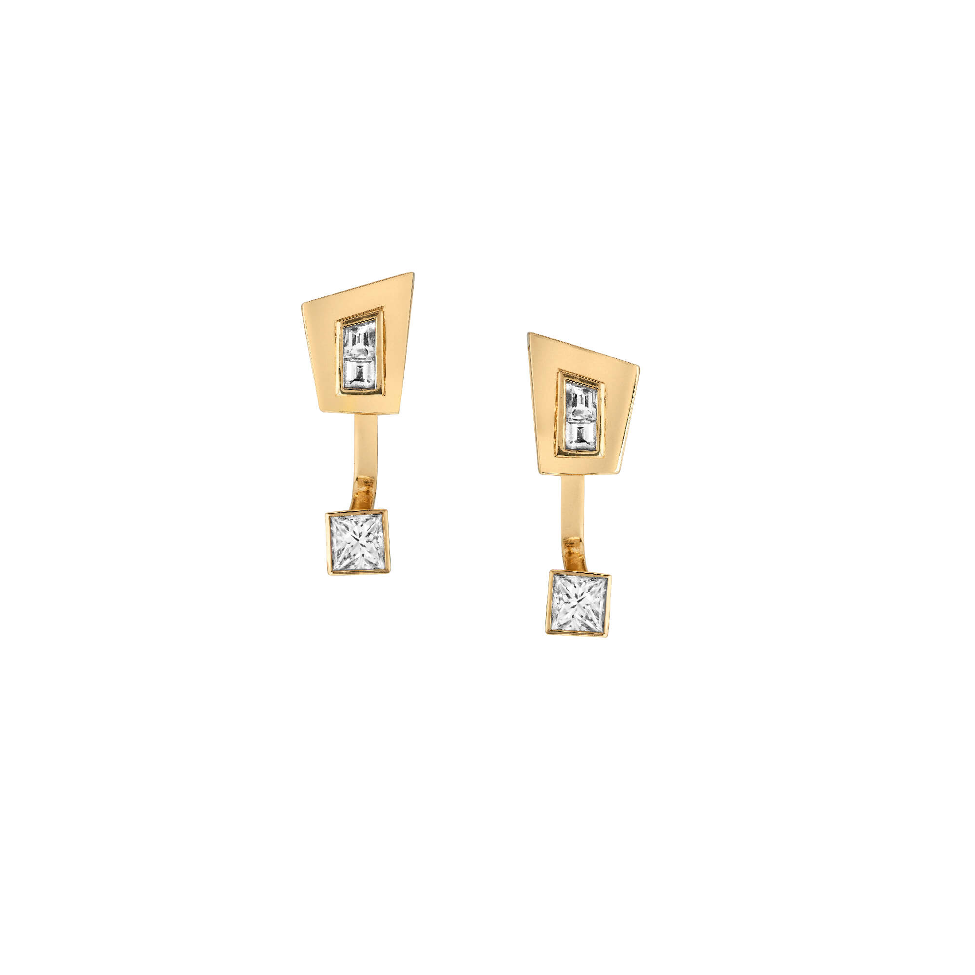 Yellow Gold With White Diamond Stud Earrings | Dynamite
