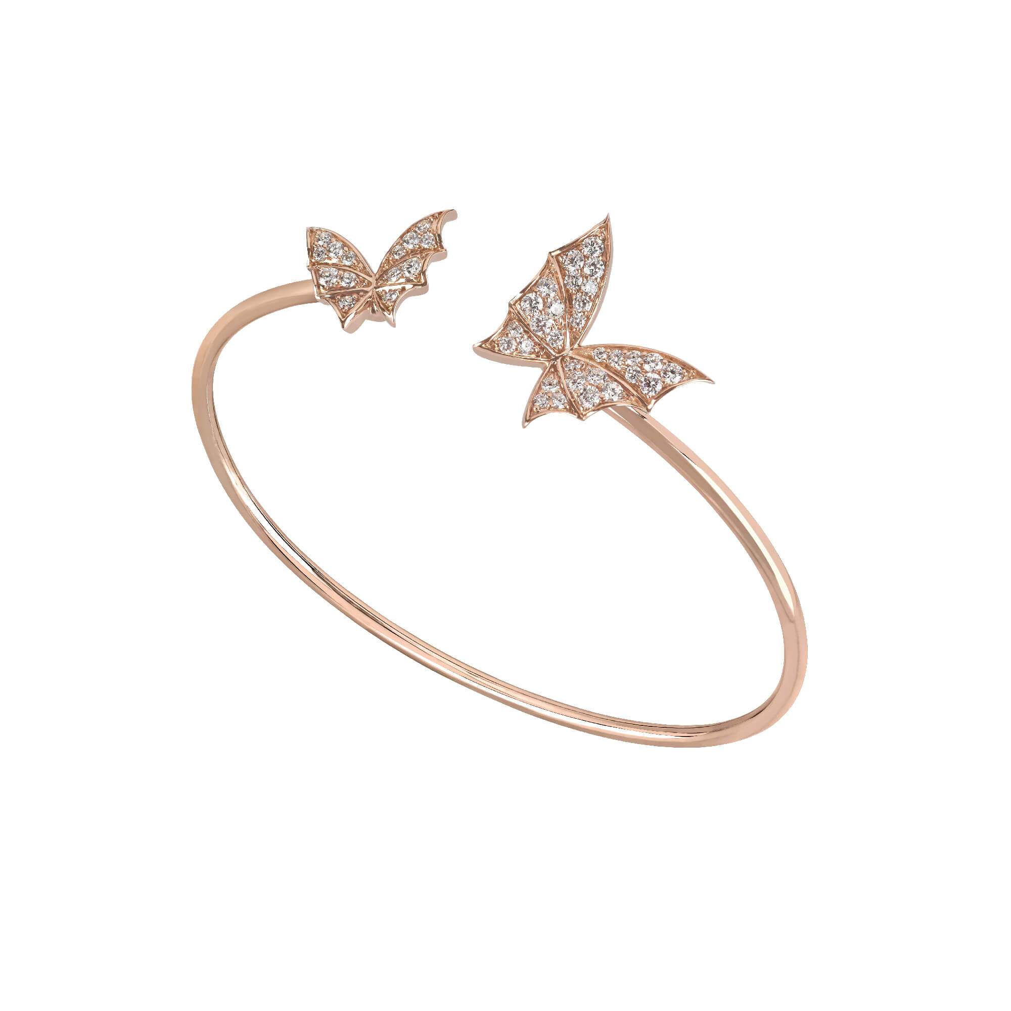 Rose Gold & White Diamond Bangle | Fly By Night