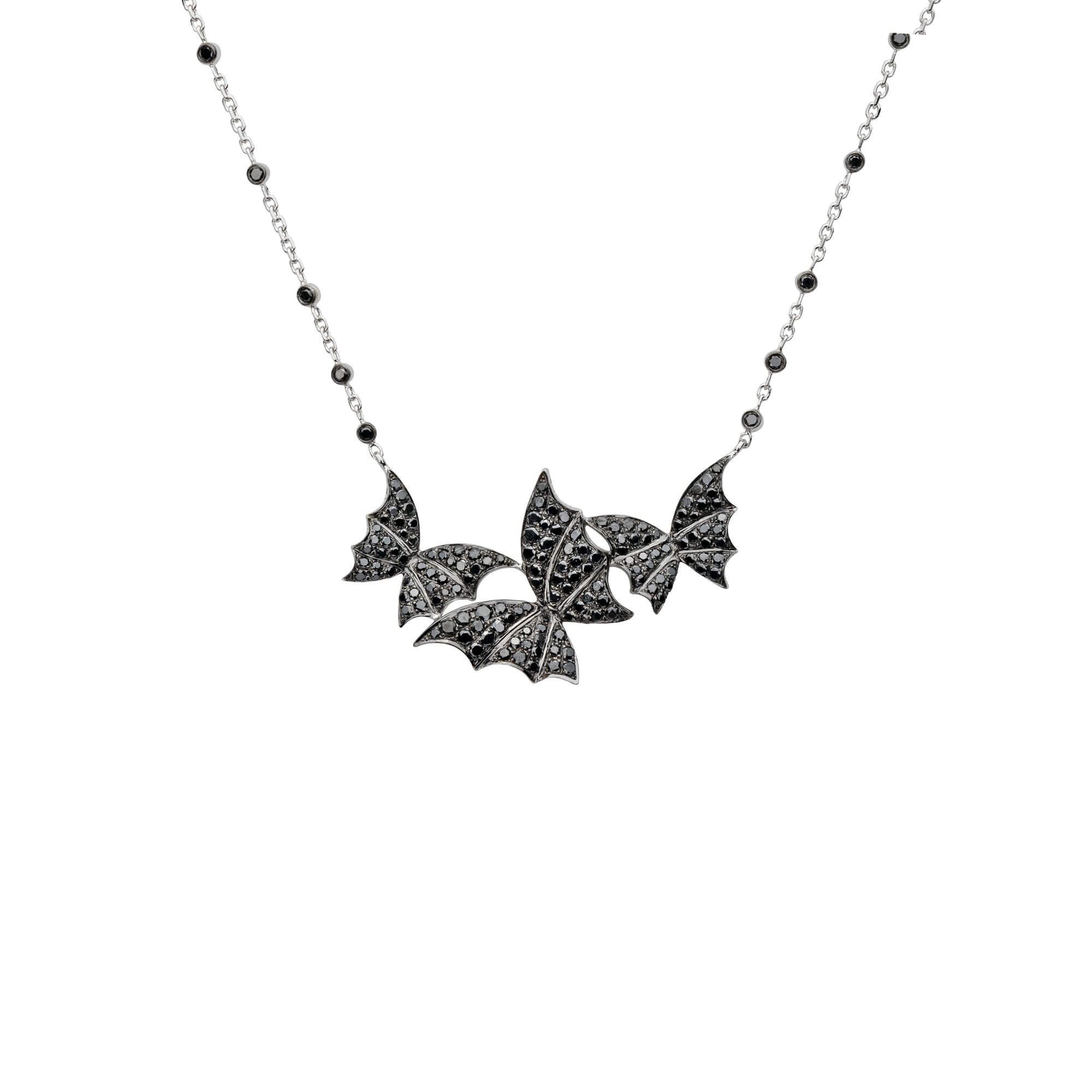 White Gold & Black Diamond Pavé Necklace | Fly By Night