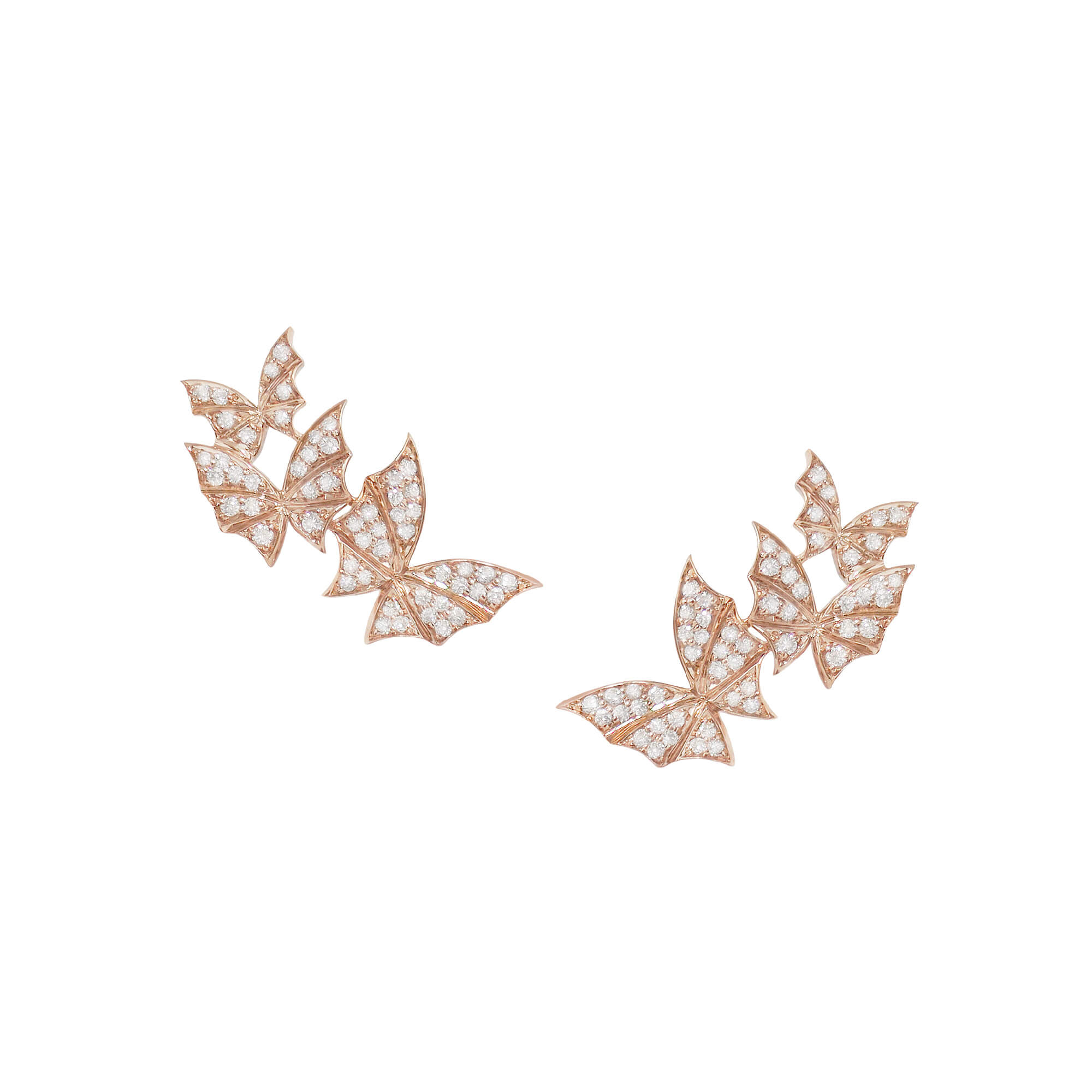 Rose Gold & White Diamond Triple Earrings | Fly By Night