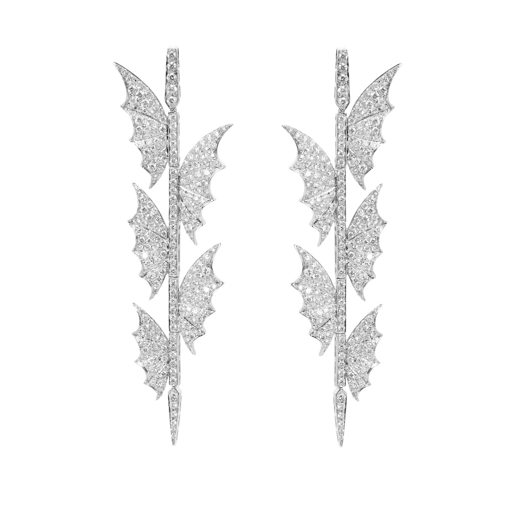 White Gold Five Wings Long Earrings | Fly By Night