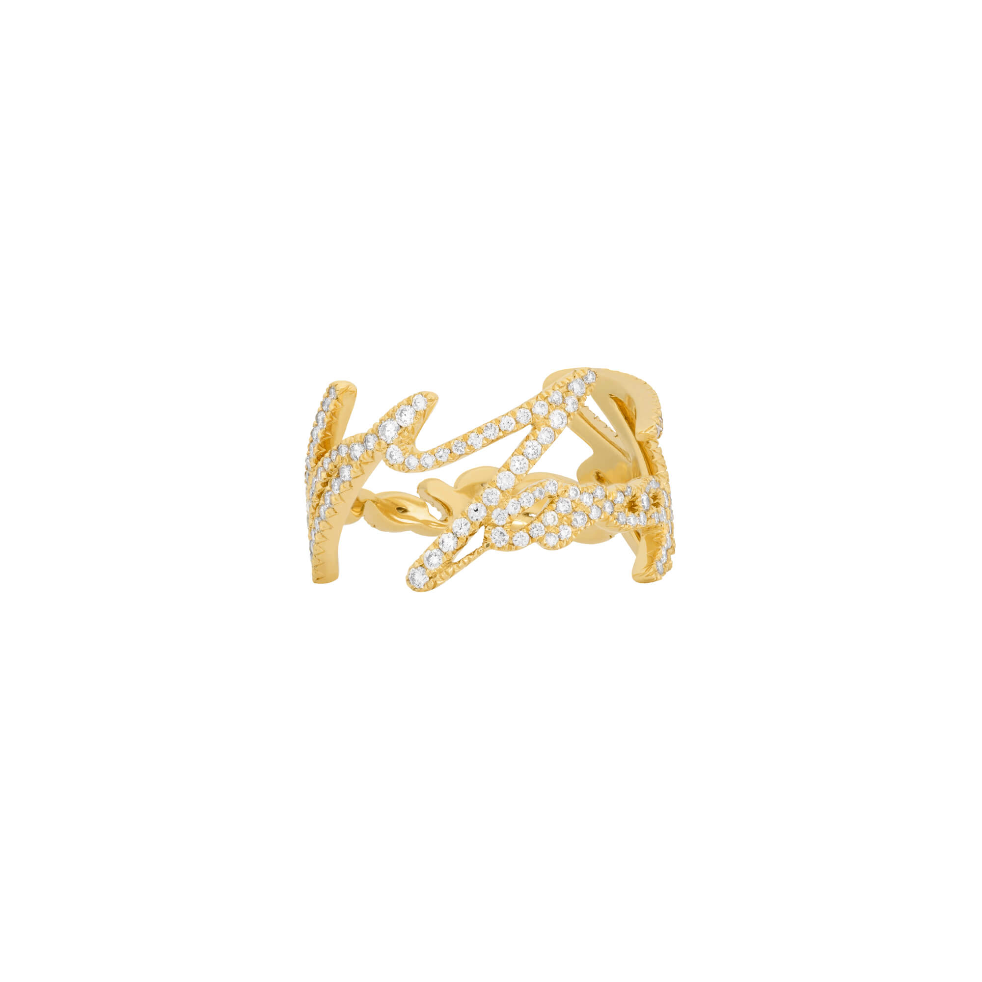 Neon Yellow Gold & White Diamond More Passion Ring | I Promise To Love You