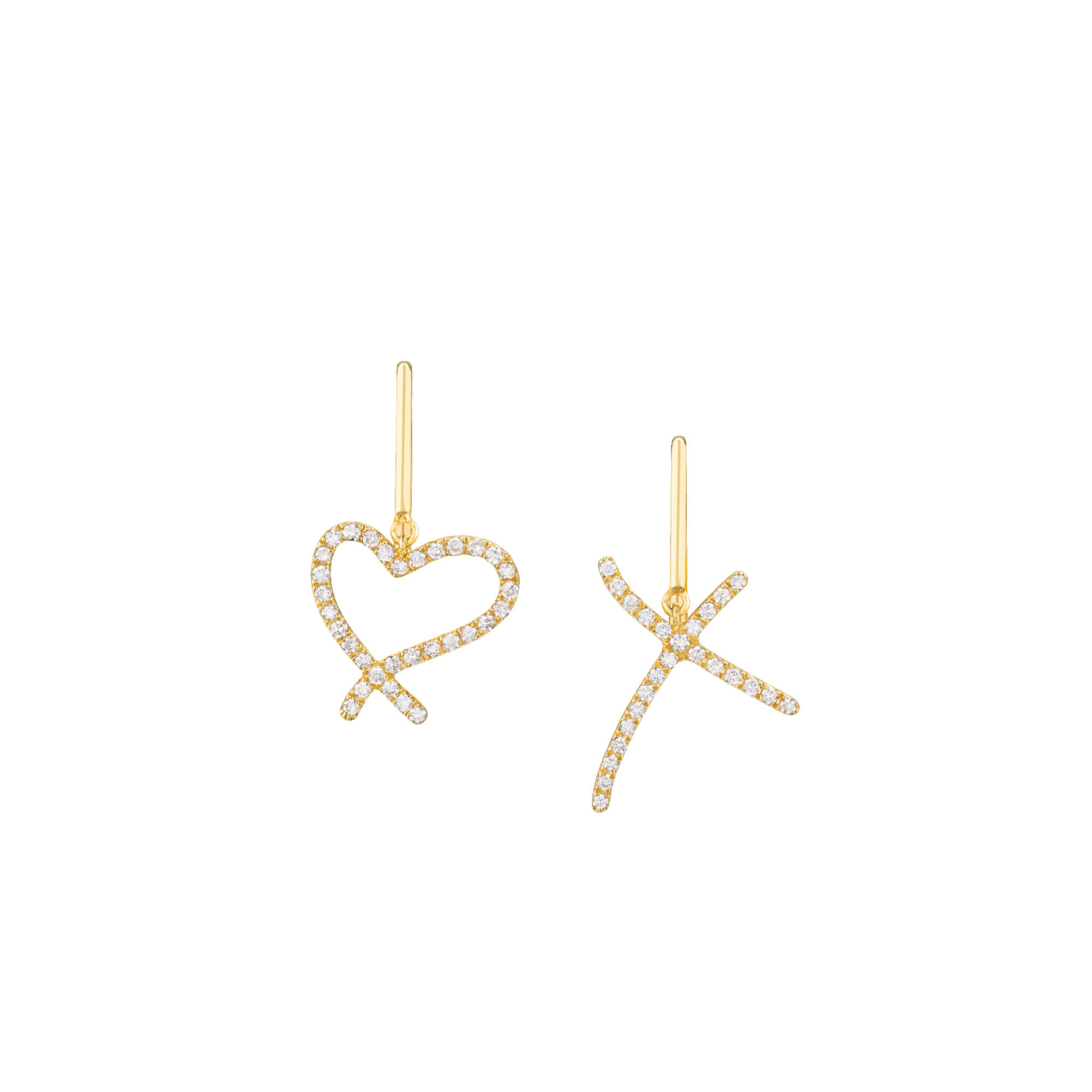 Neon Yellow Gold Hear and Kiss Earrings | I Promise To Love You