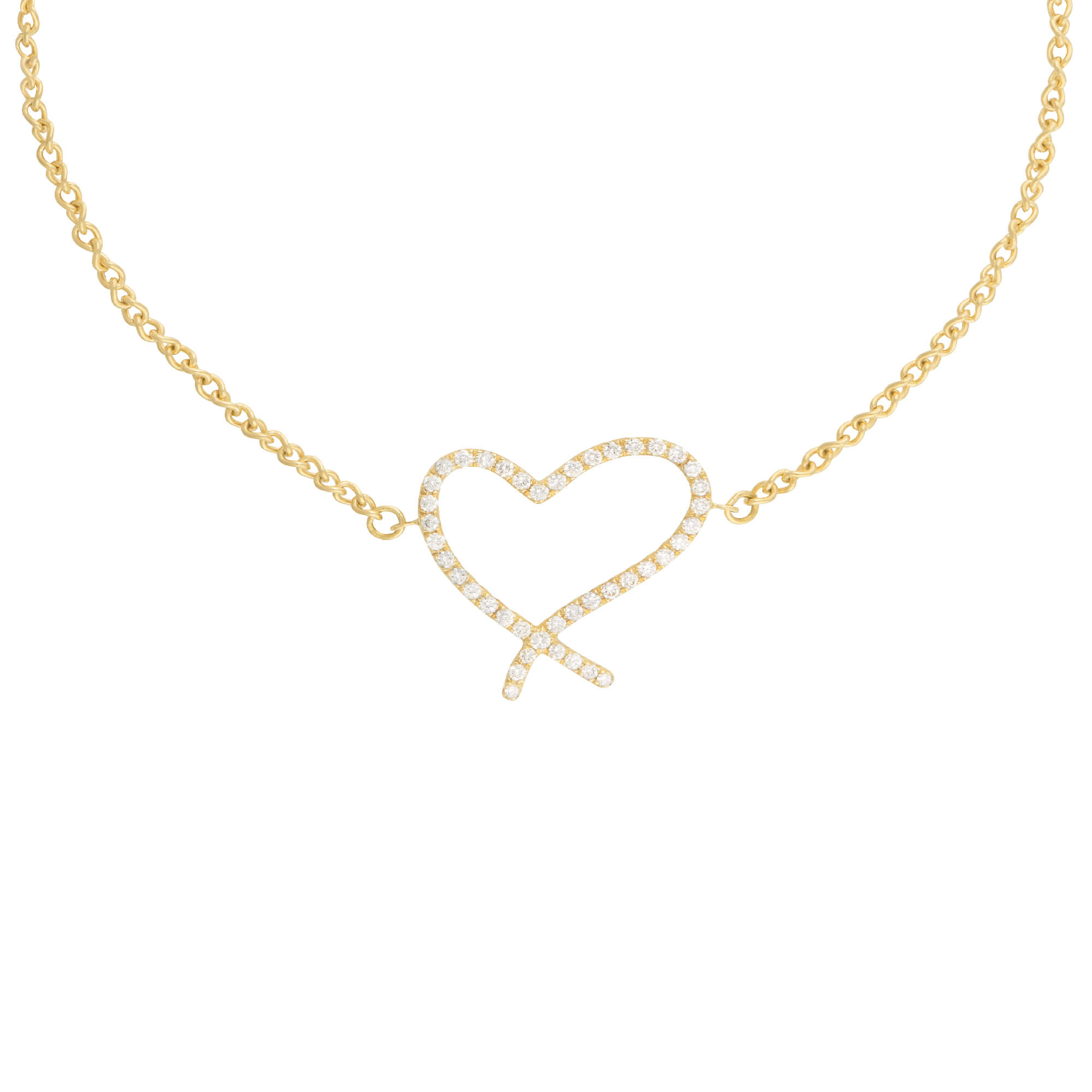 Neon White Diamond & Yellow Gold Heart Bracelet | I Promise To Love You
