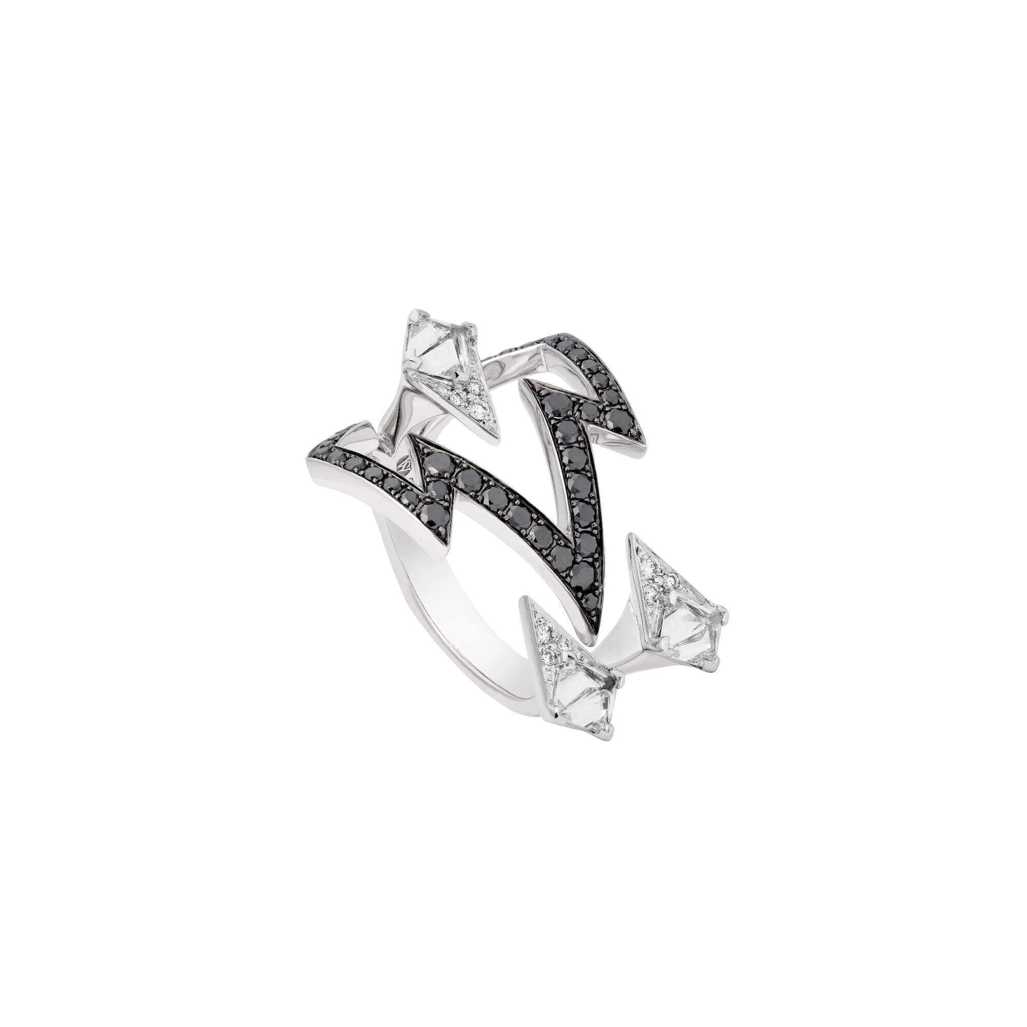 White Gold Bolt Ring With White and Black Diamonds | Lady Stardust