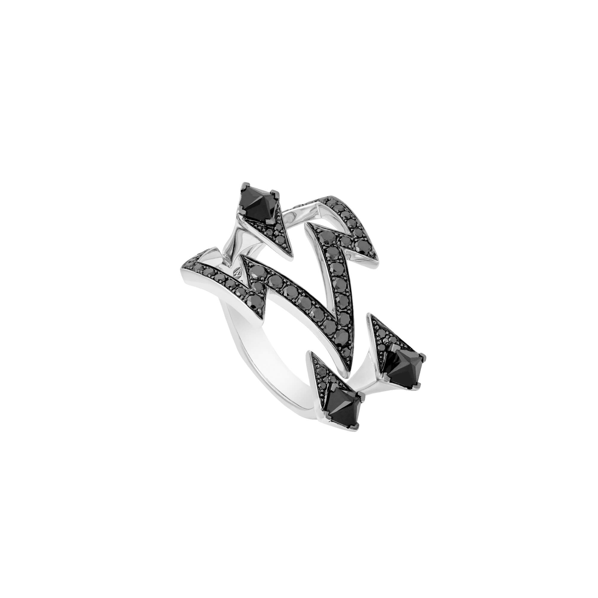 18k White Gold & Black Spinels Bolt Ring | Lady Stardust