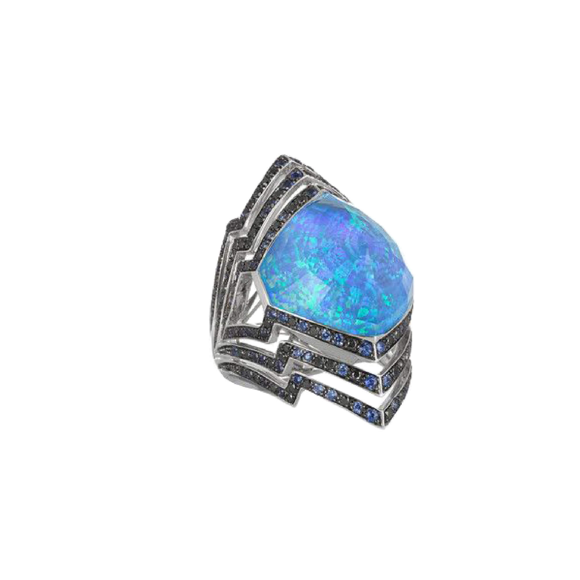 White Gold Crystal Haze Large Ring With Blue Sapphire Pavé | Lady Stardust