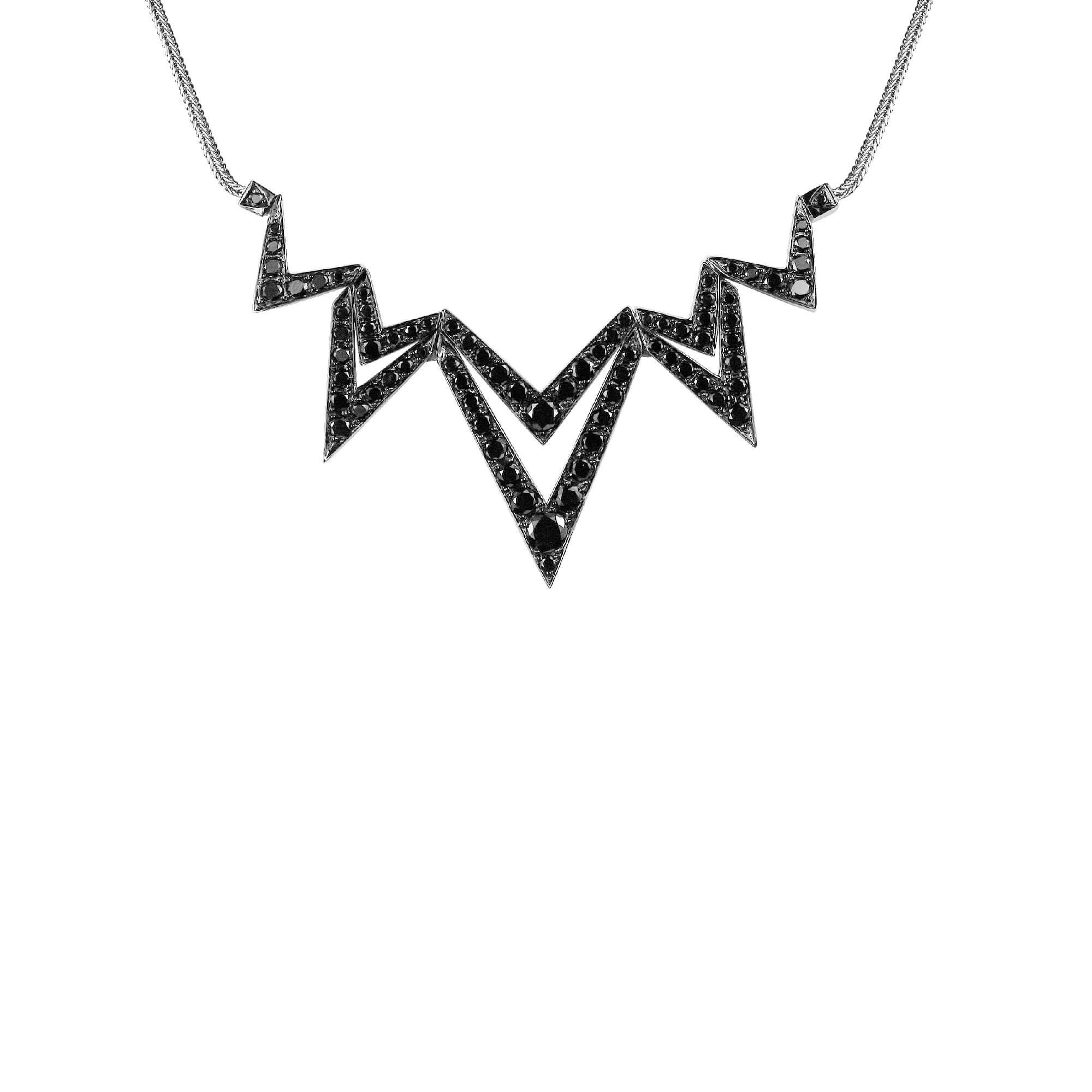 18k White Gold & Black Diamond Pavé Necklace | Lady Stardust