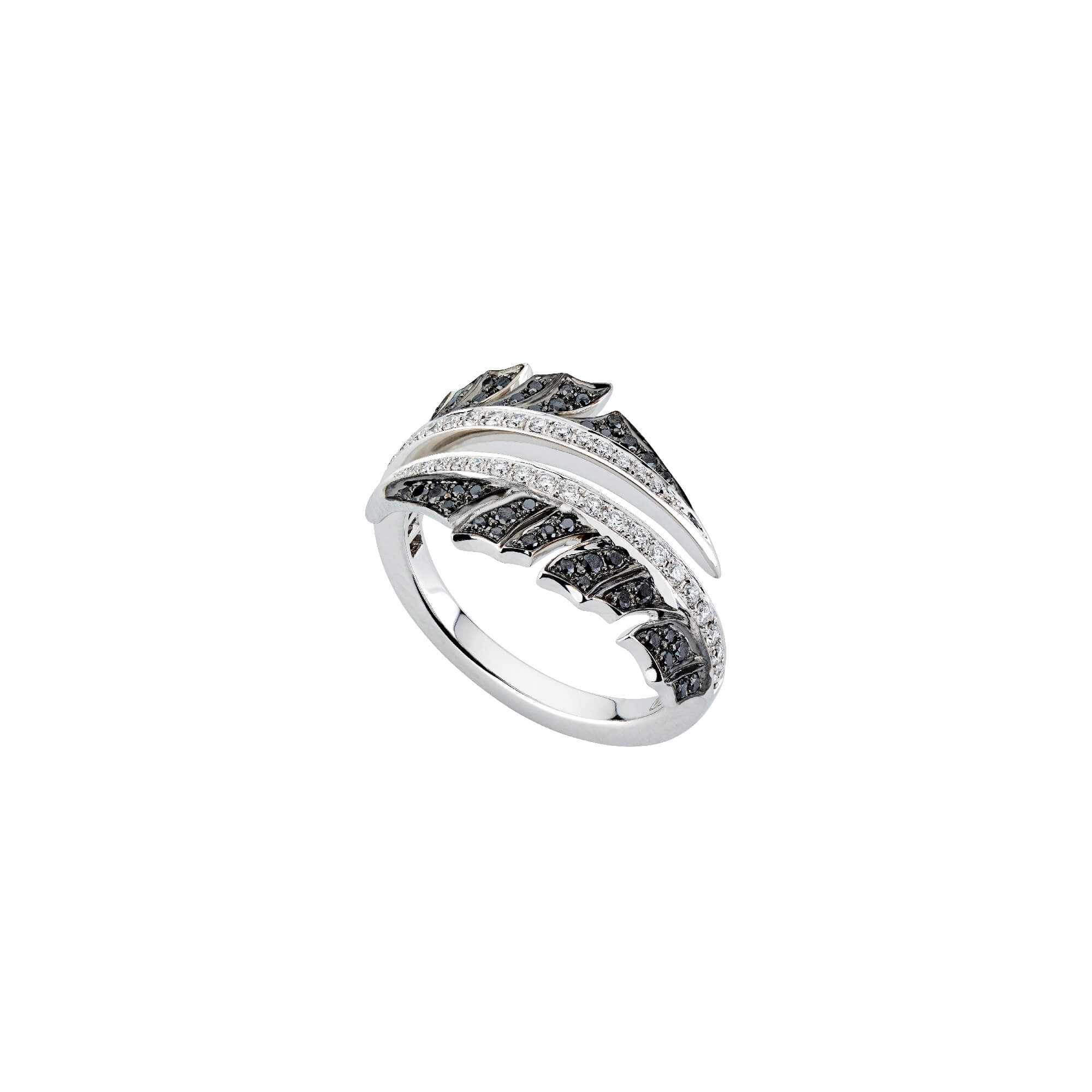 White Gold Pavé Split Ring With Black Diamond | Magnipheasant