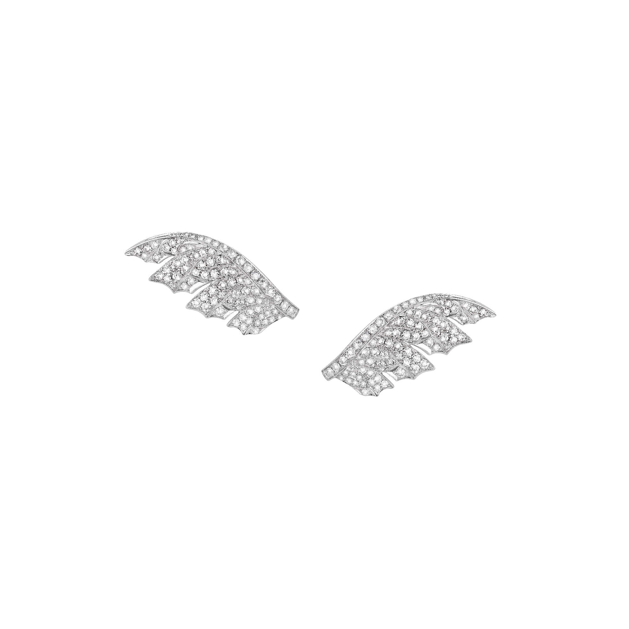 White Gold Pavé Feather Earrings With White Diamonds | Magnipheasant
