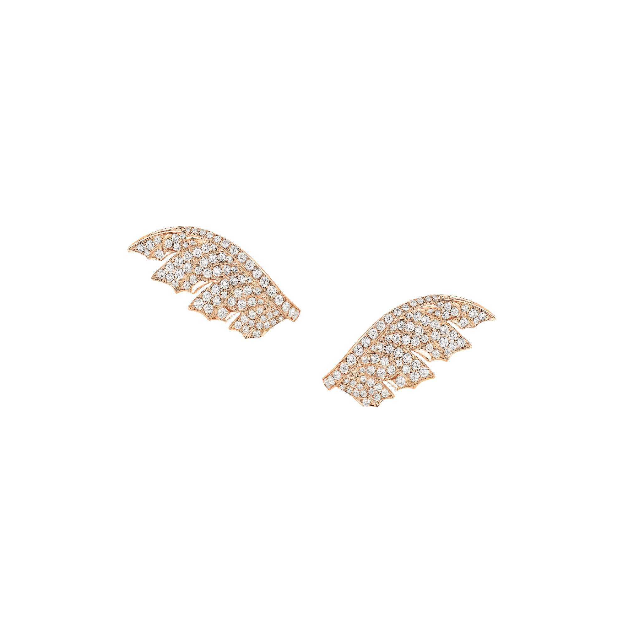 Rose Gold Pavé Feather Earrings With White Diamonds | Magnipheasant