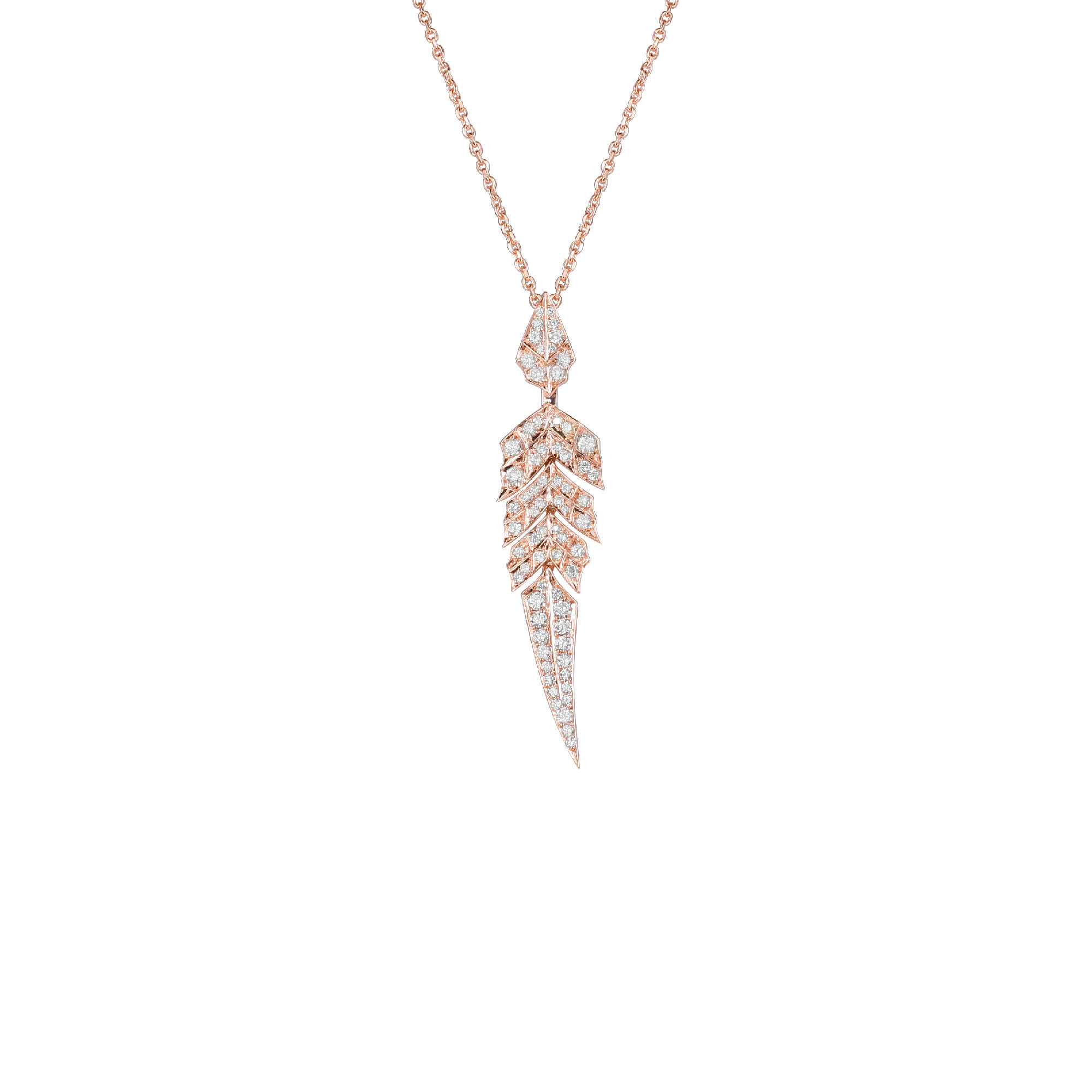 Rose Gold Pavé Short Pendant With White Diamonds Set In Rose Gold | Magnipheasant