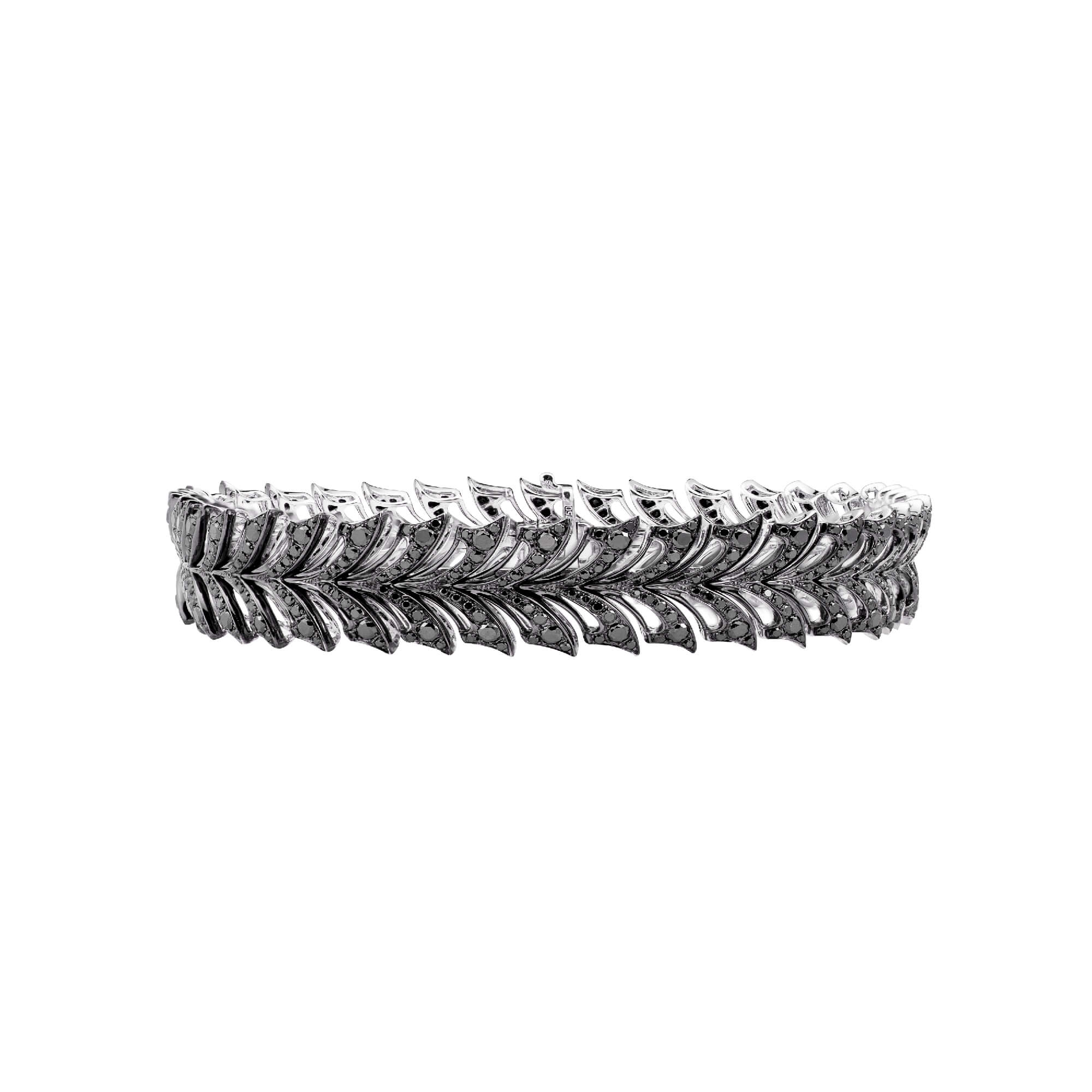 White Gold Small Pavé Bracelet With Black Diamonds | Magnipheasant