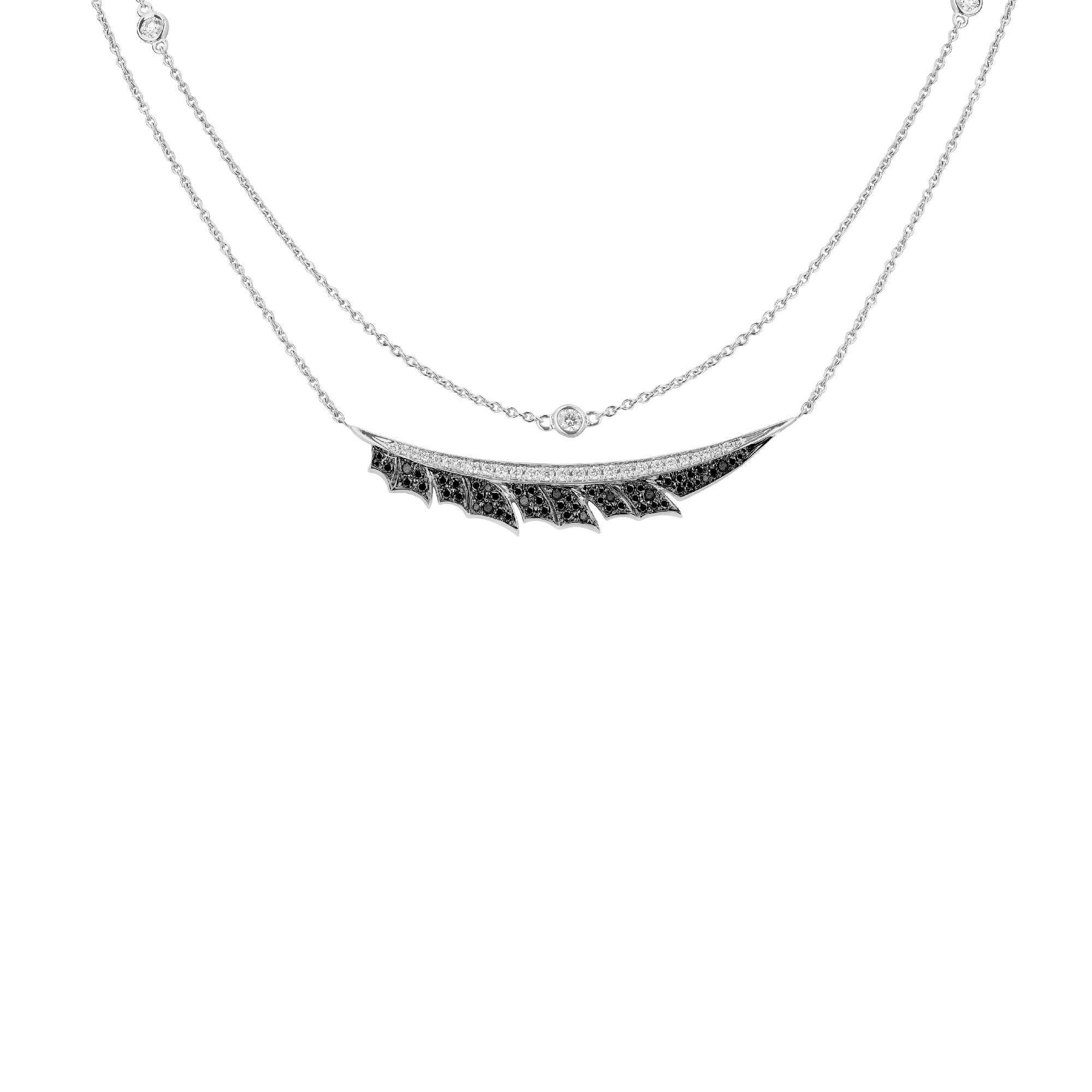 White Gold Pavé Feather Necklace | Magnipheasant