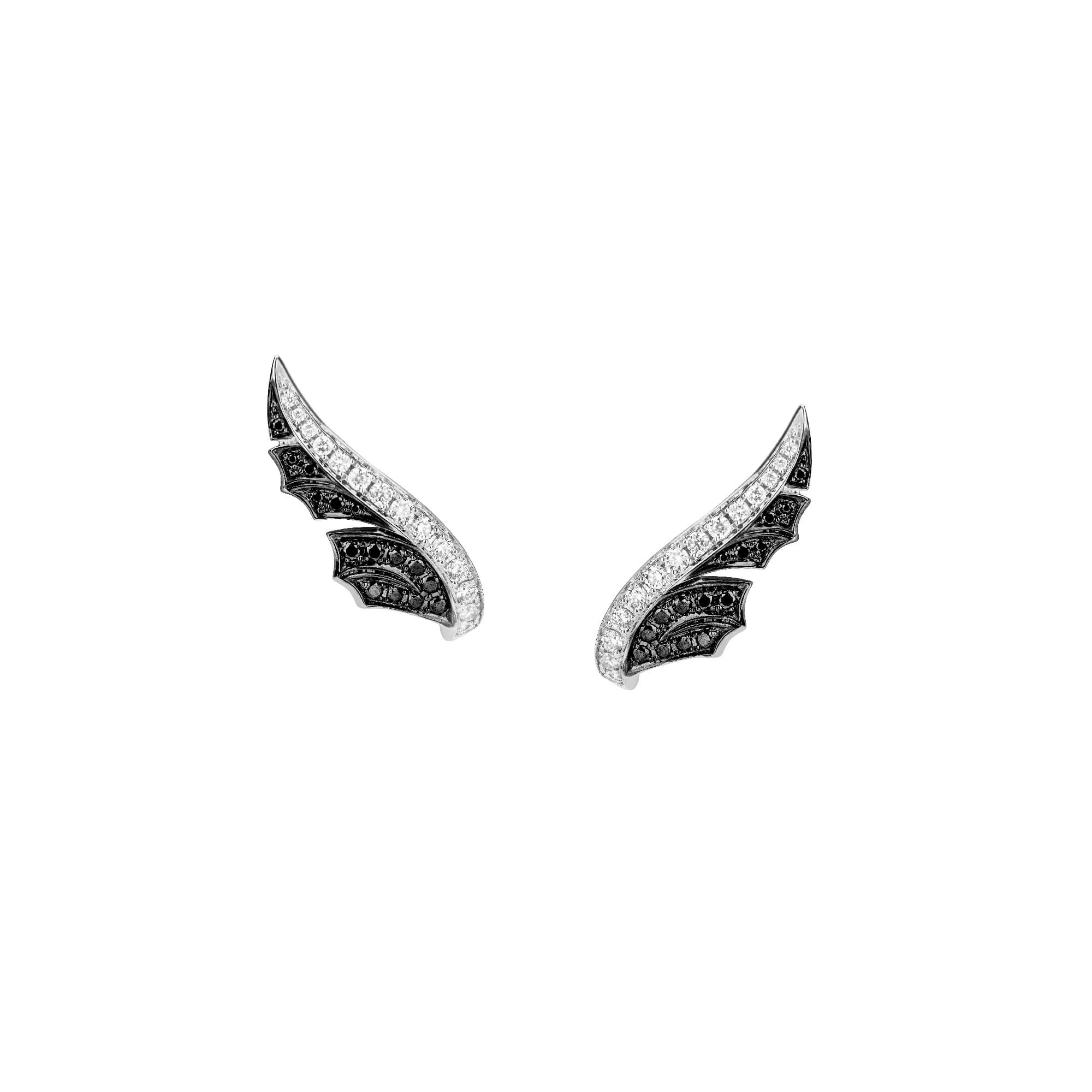 White Gold Pavé Feather Earstuds With Black Diamonds | Magnipheasant
