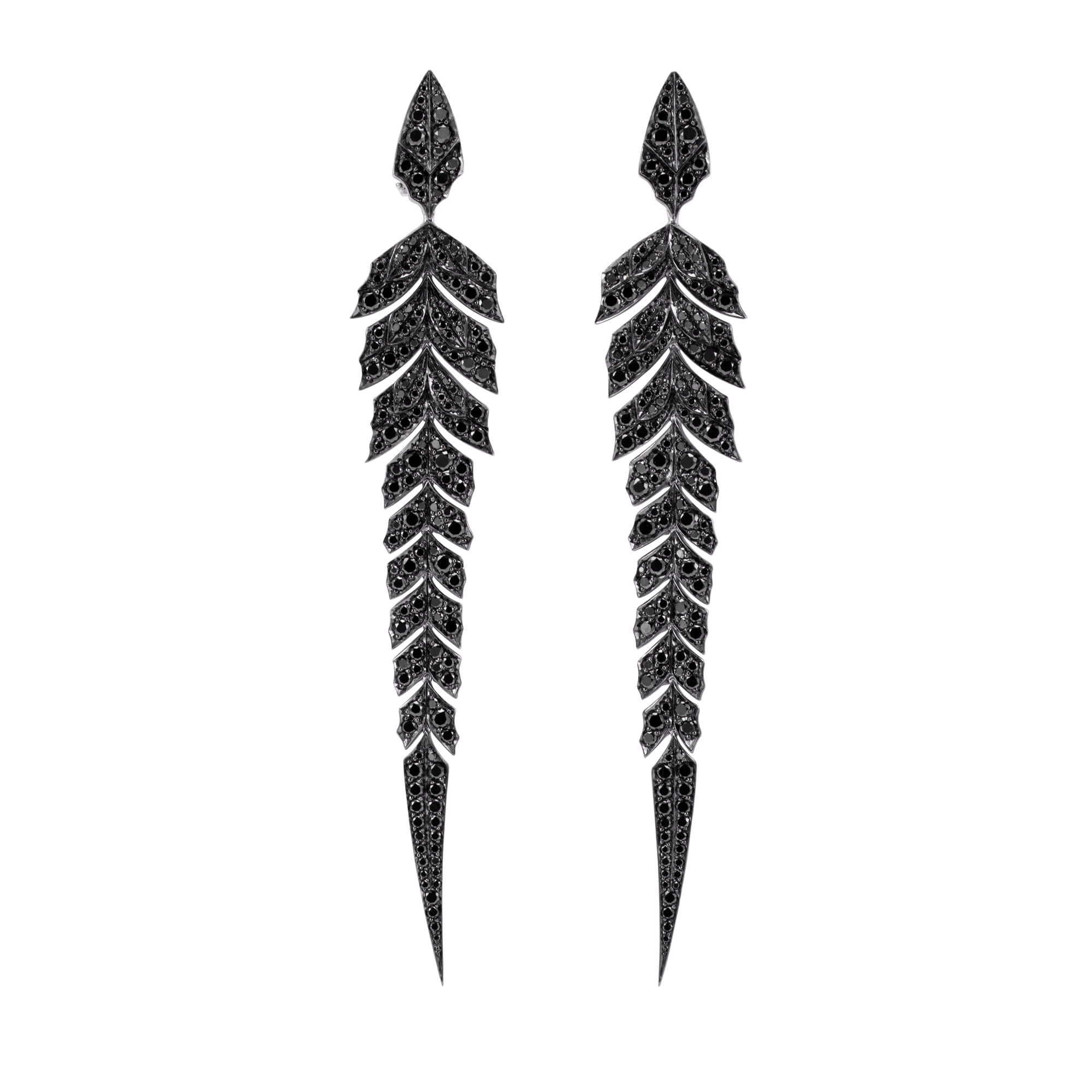 Pavé Earrings With Black Diamonds Set In White Gold | Magnipheasant