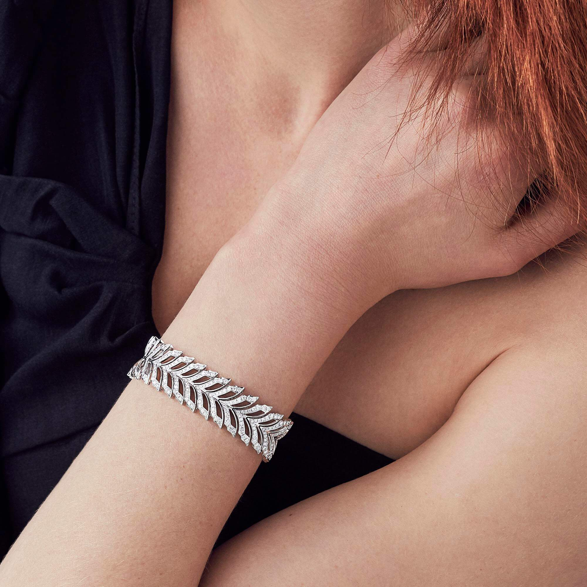 White Gold Pavé Bracelet With White Diamonds | Magnipheasant