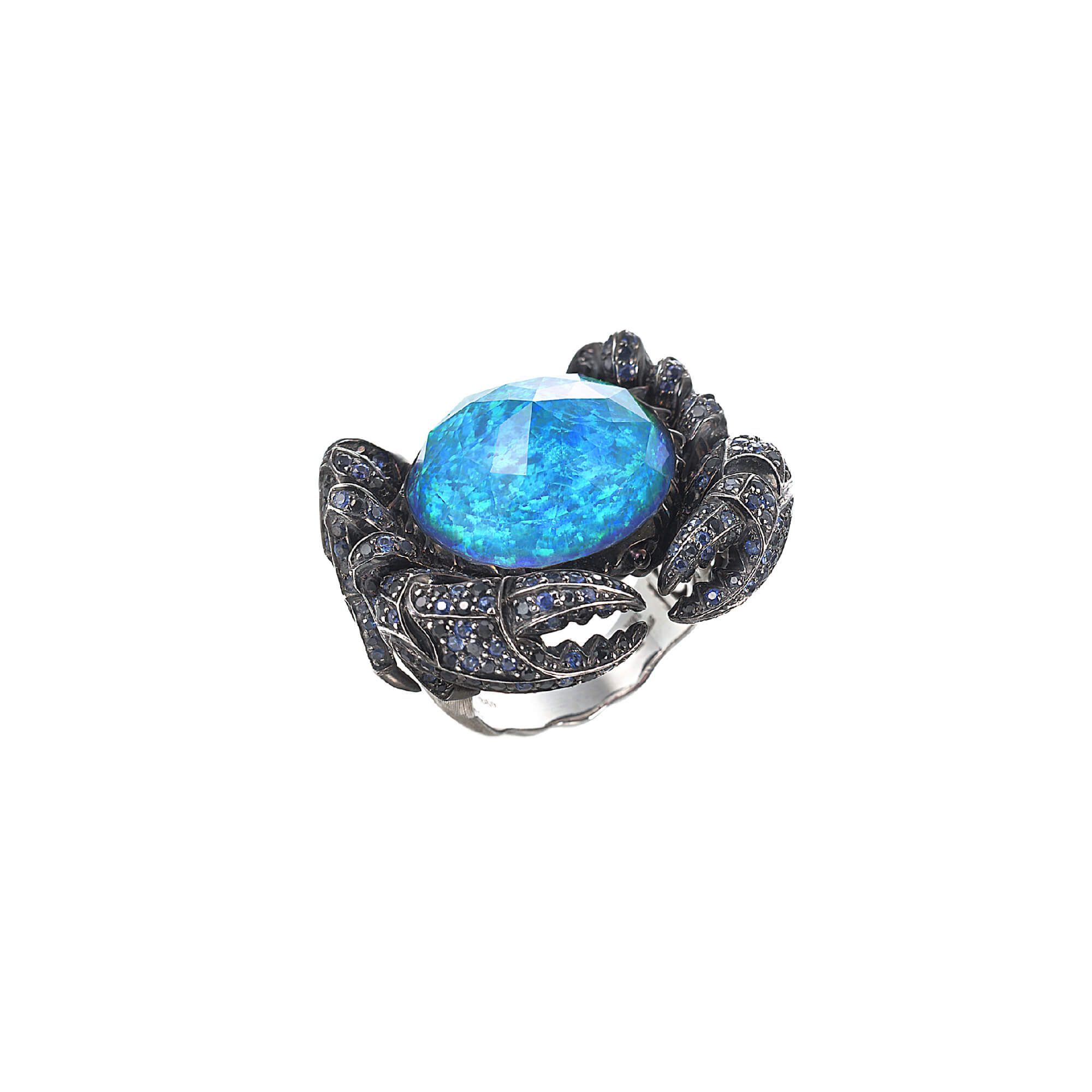 White Gold Crab Crystal Haze Ring | Jewels Verne