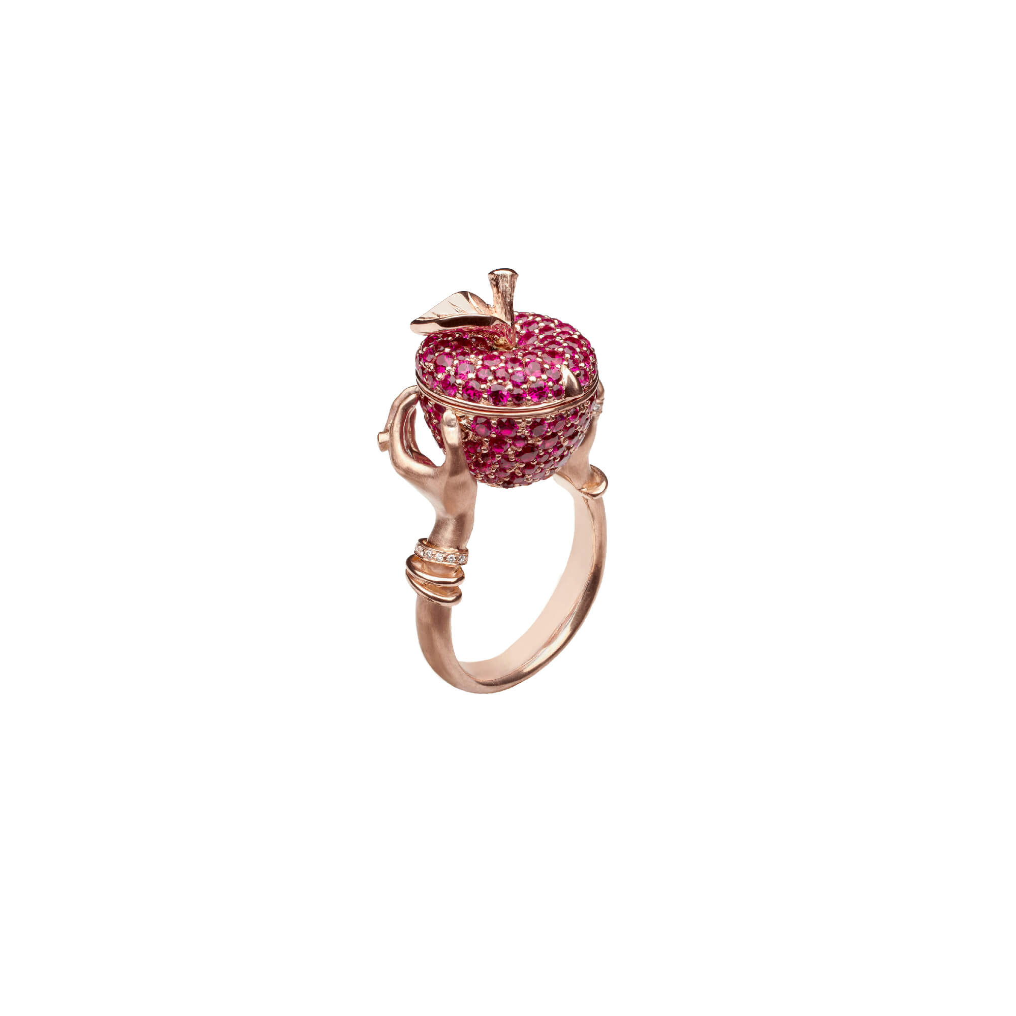 Poison Apple Ruby Pavé Rose Gold Ring | No Regrets