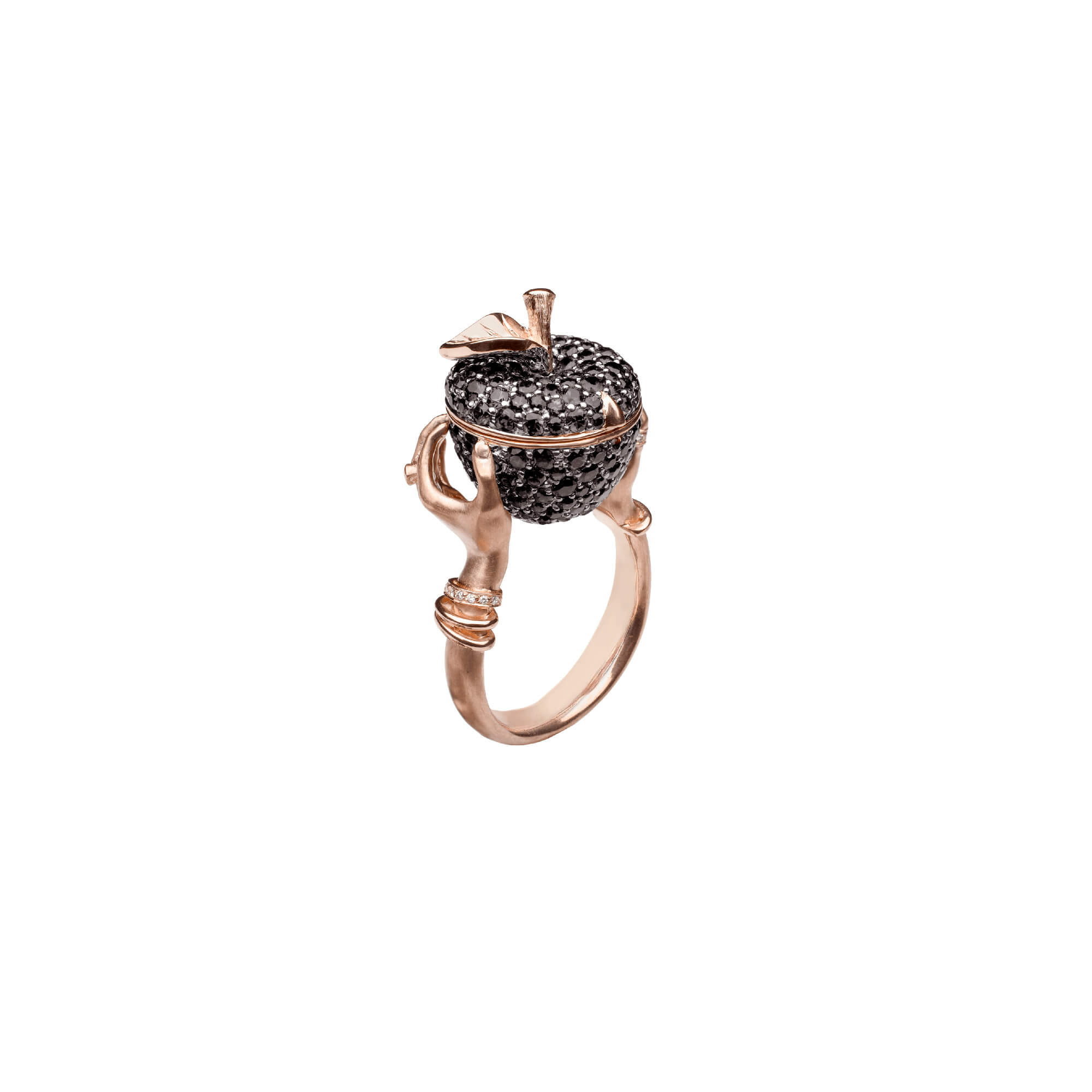Poison Apple Black Diamond Pavé Rose Gold Ring | No Regrets