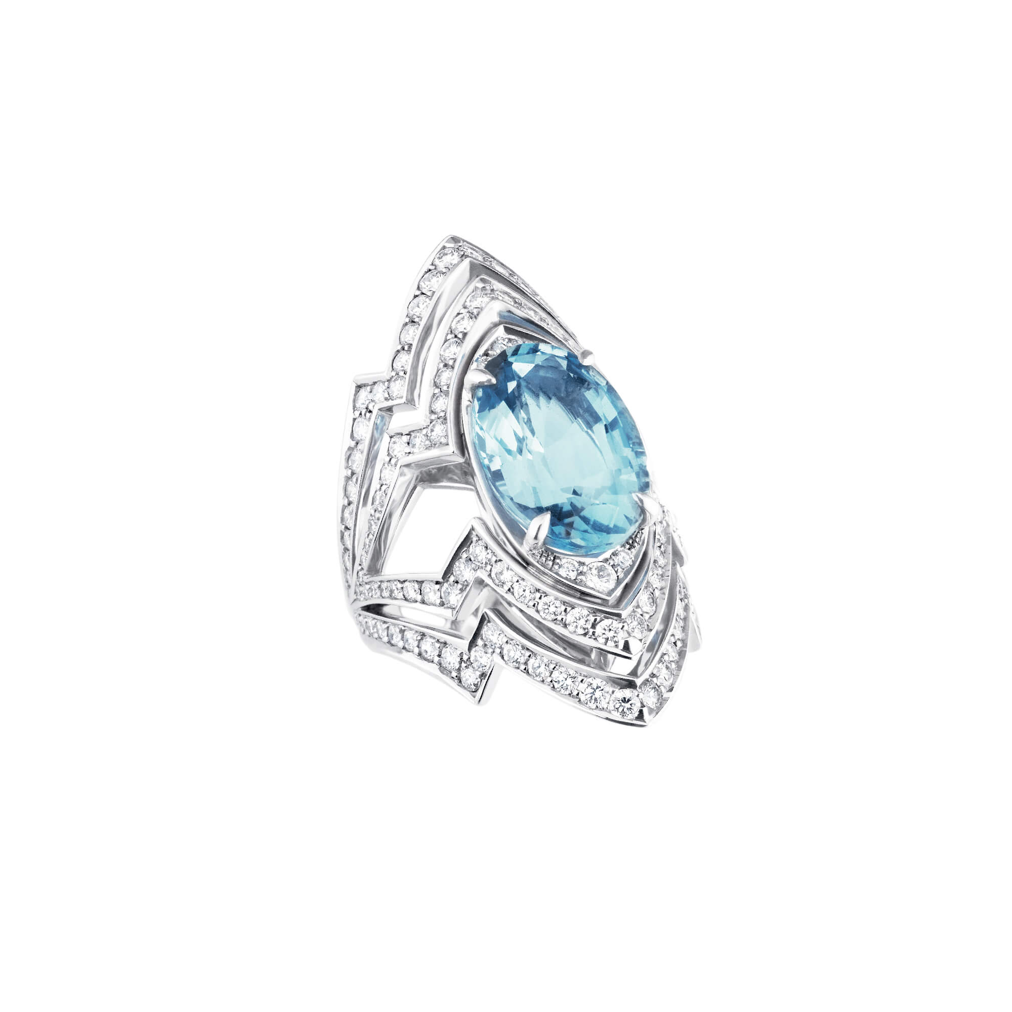 Aquamarine Couture 18ct White Gold Ring | Lady Stardust