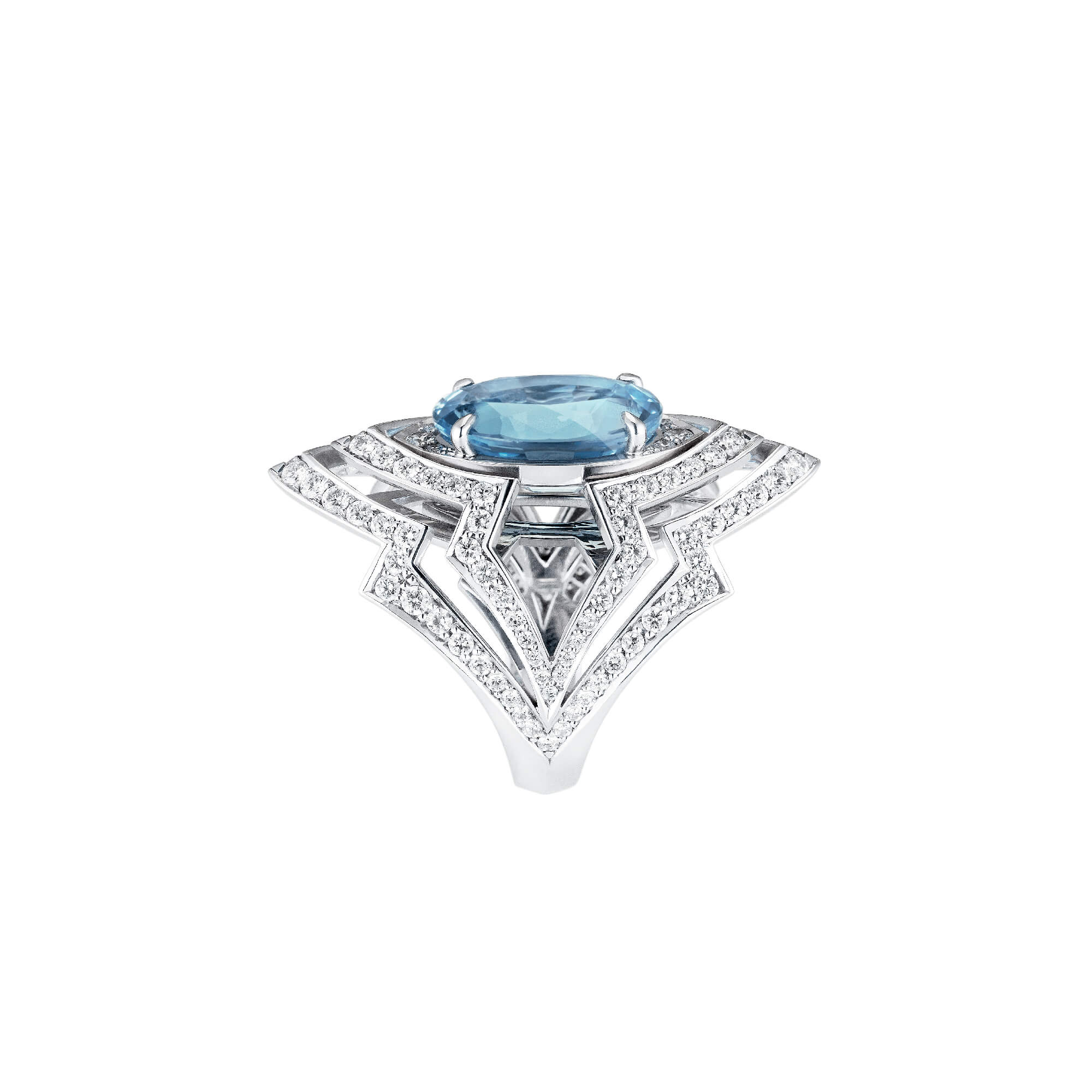 Aquamarine Couture 18ct White Gold Ring - Image 1 | Lady Stardust