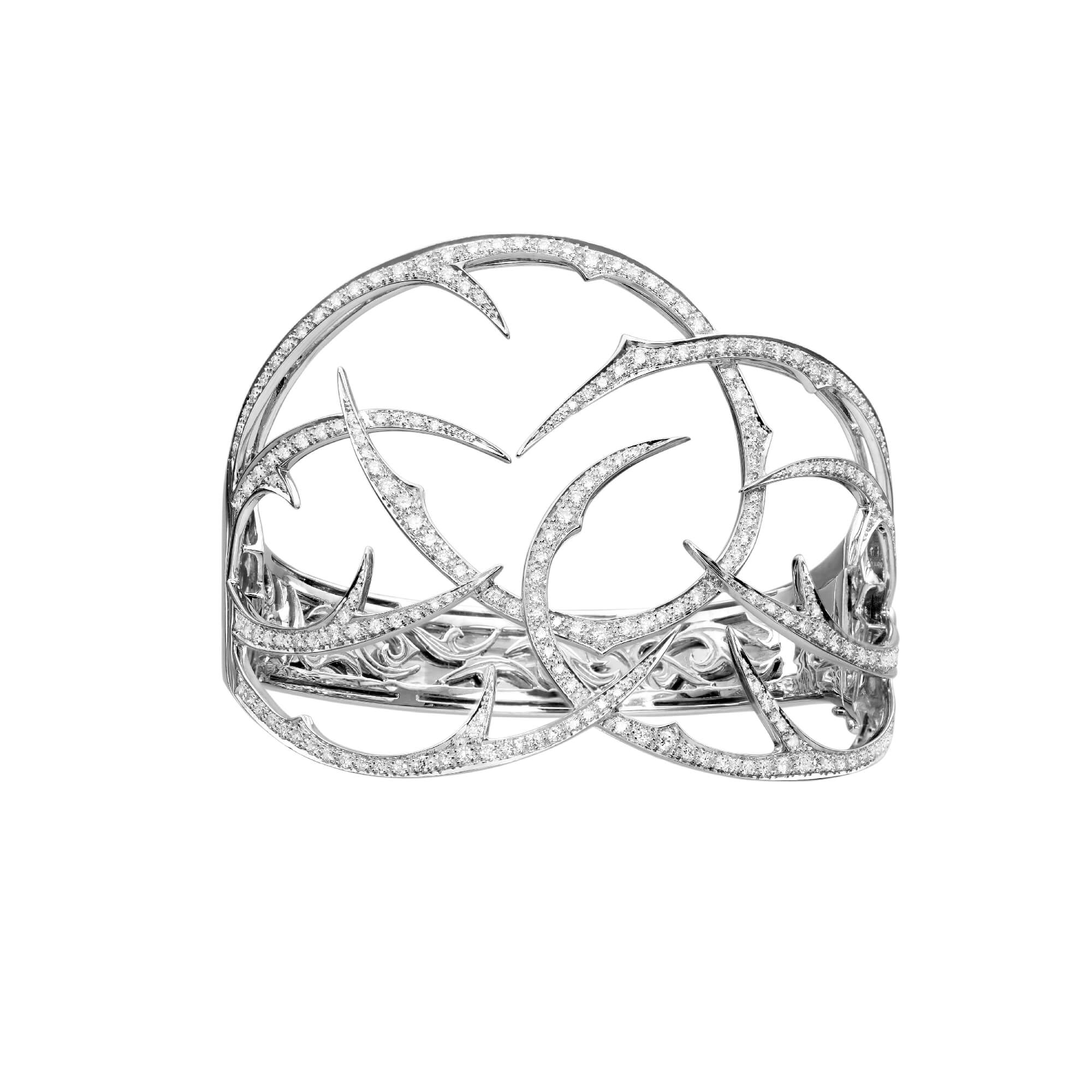 White Gold Cuff with White Diamond | Thorn