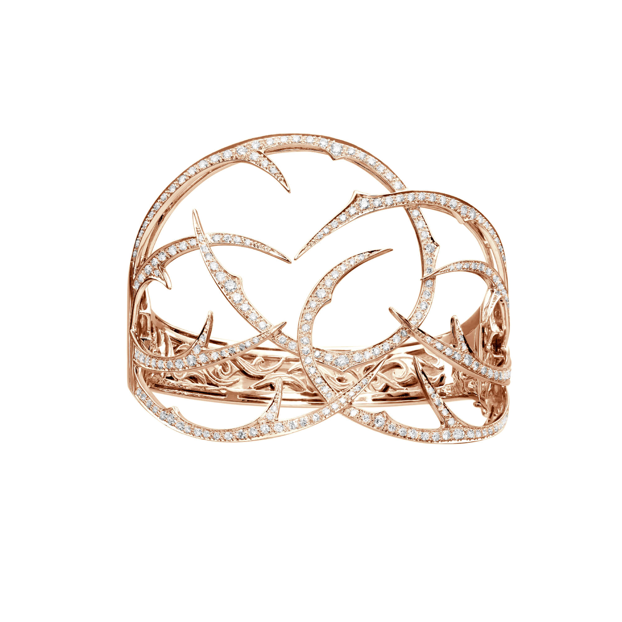 Rose Gold Cuff with White Diamond | Thorn